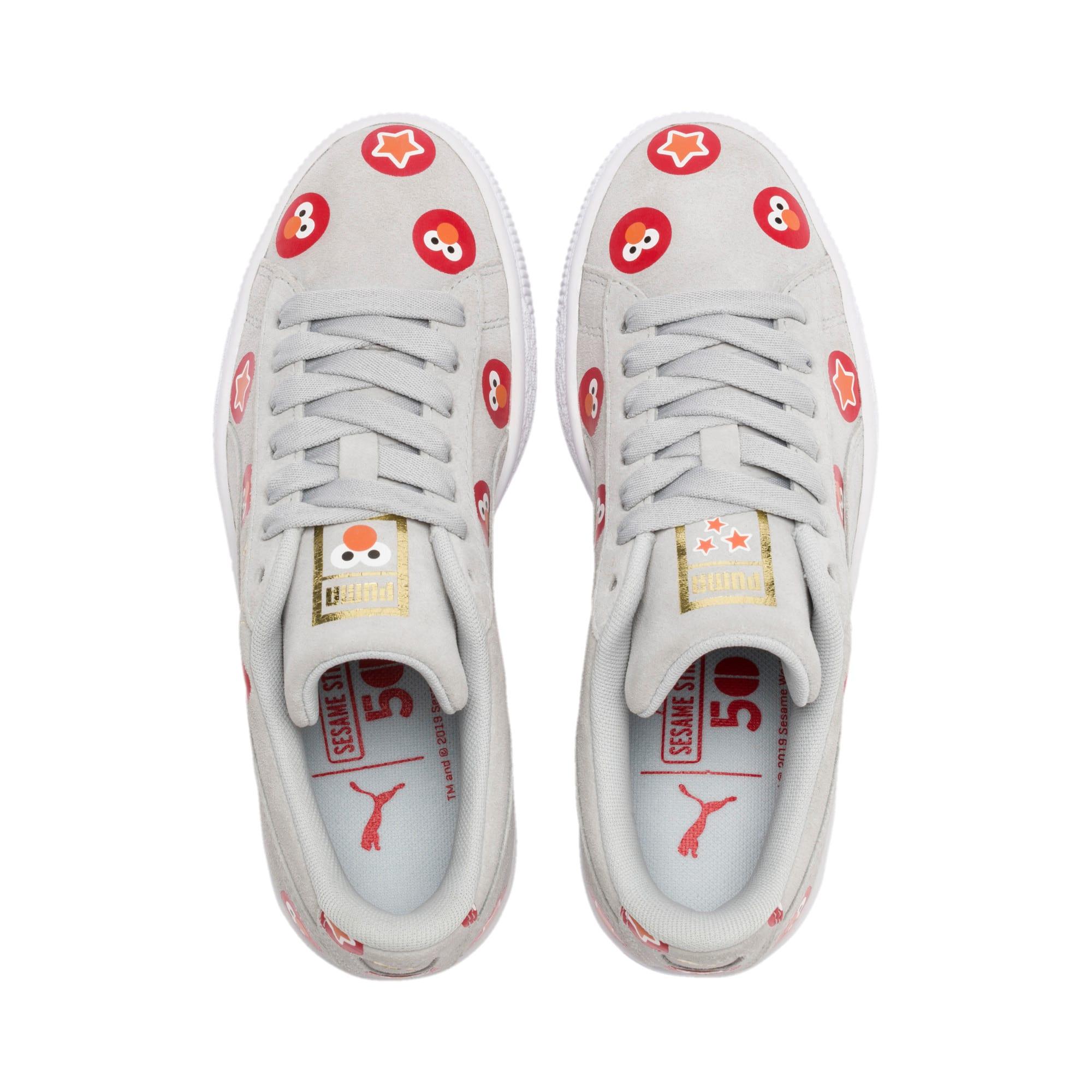 Thumbnail 6 of PUMA x SESAME STREET 50 Suede Badge Sneakers JR, Grey Dawn-High Risk Red, medium