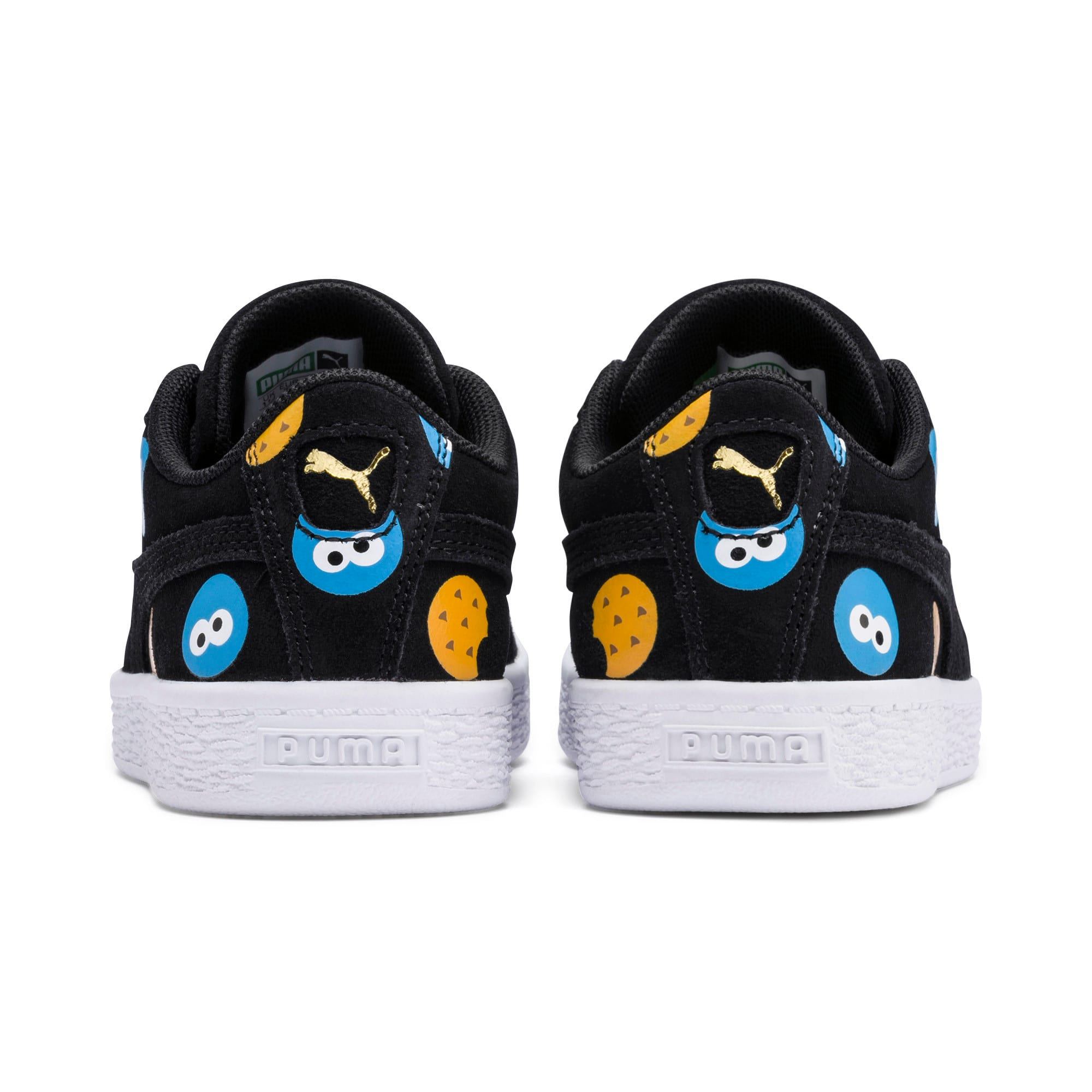 Thumbnail 3 of Sesame Street 50 Suede Badge Kids' Trainers, Puma Black-Bleu Azur, medium