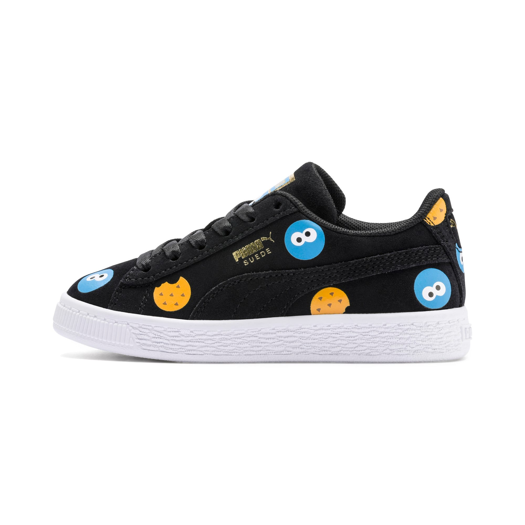Thumbnail 1 of Sesame Street 50 Suede Badge Kids' Trainers, Puma Black-Bleu Azur, medium