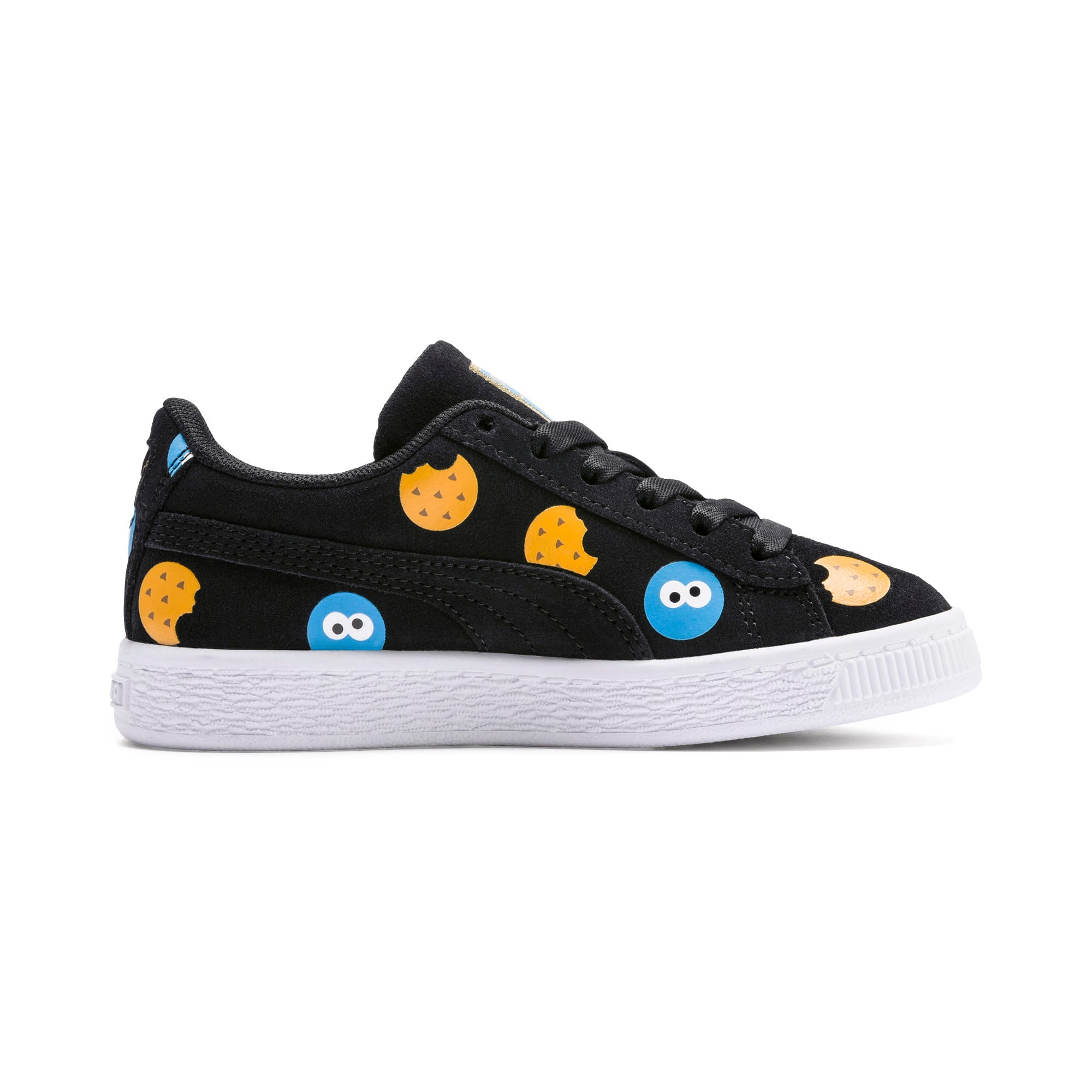 Thumbnail 5 of Sesame Street 50 Suede Badge Kids' Trainers, Puma Black-Bleu Azur, medium