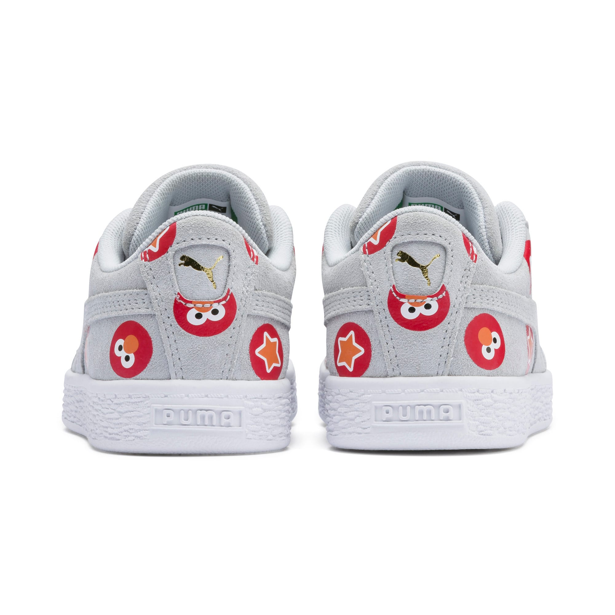 Thumbnail 3 of Sesame Street 50 Suede Badge Kids' Trainers, Grey Dawn-High Risk Red, medium