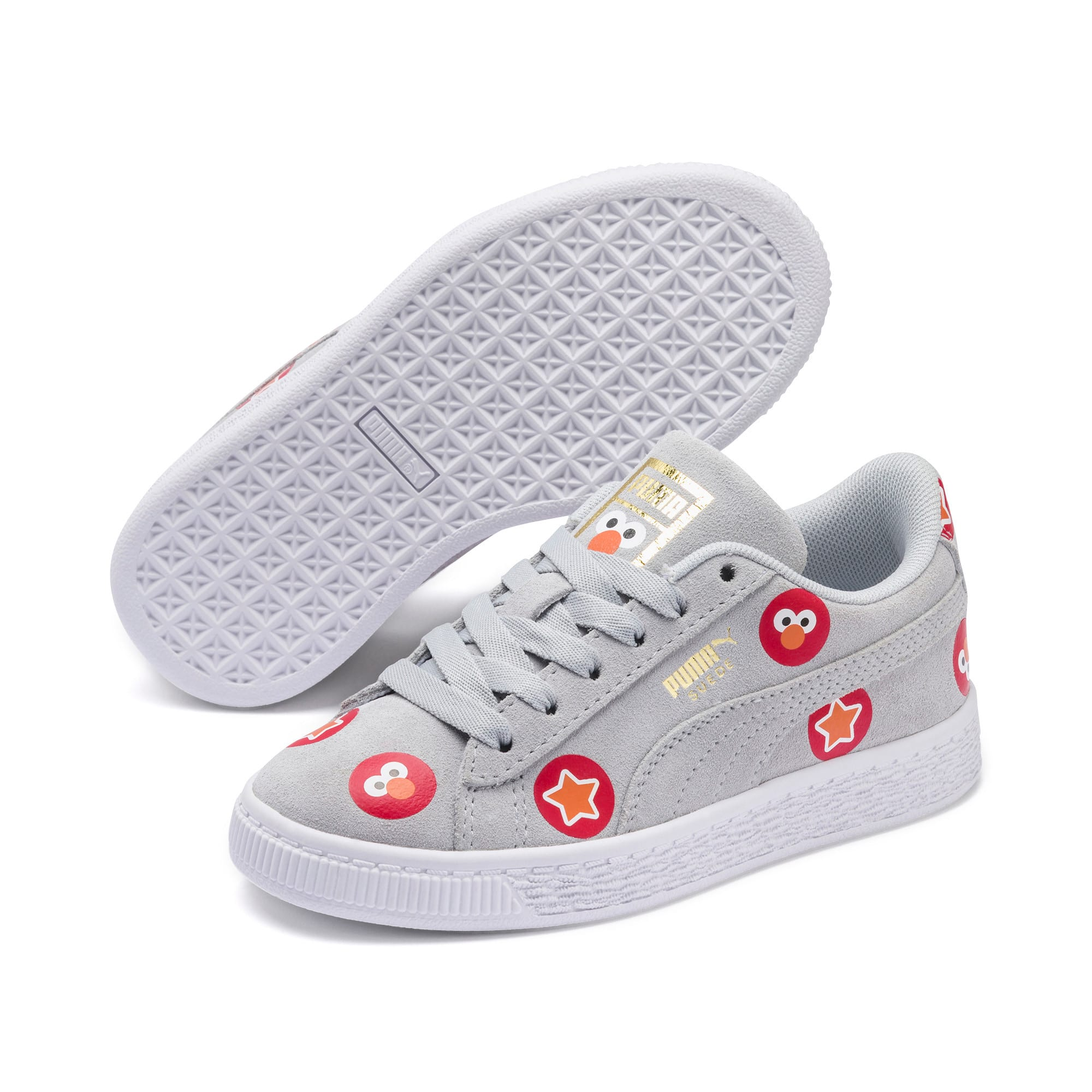 Thumbnail 2 of Sesame Street 50 Suede Badge Kids' Trainers, Grey Dawn-High Risk Red, medium