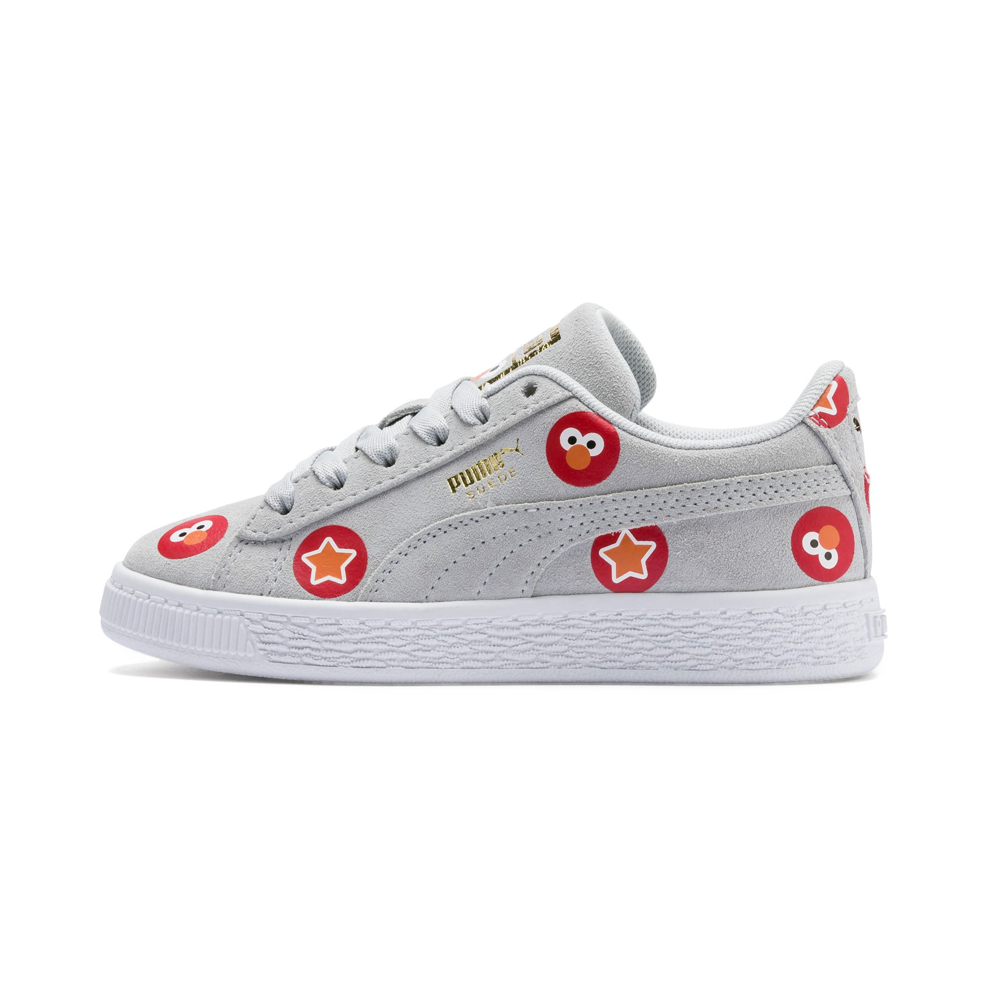 Thumbnail 1 of Sesame Street 50 Suede Badge Kids' Trainers, Grey Dawn-High Risk Red, medium