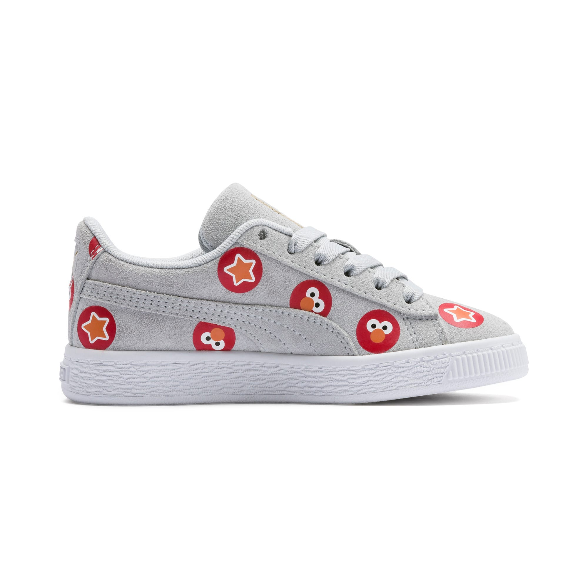 Thumbnail 5 of Sesame Street 50 Suede Badge Kids' Trainers, Grey Dawn-High Risk Red, medium