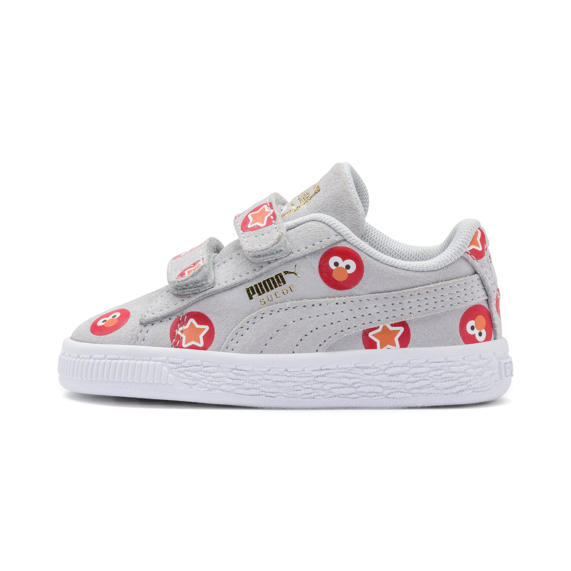 Thumbnail 1 of PUMA x SESAME STREET 50 Suede Badge Toddler Shoes, Grey Dawn-High Risk Red, medium