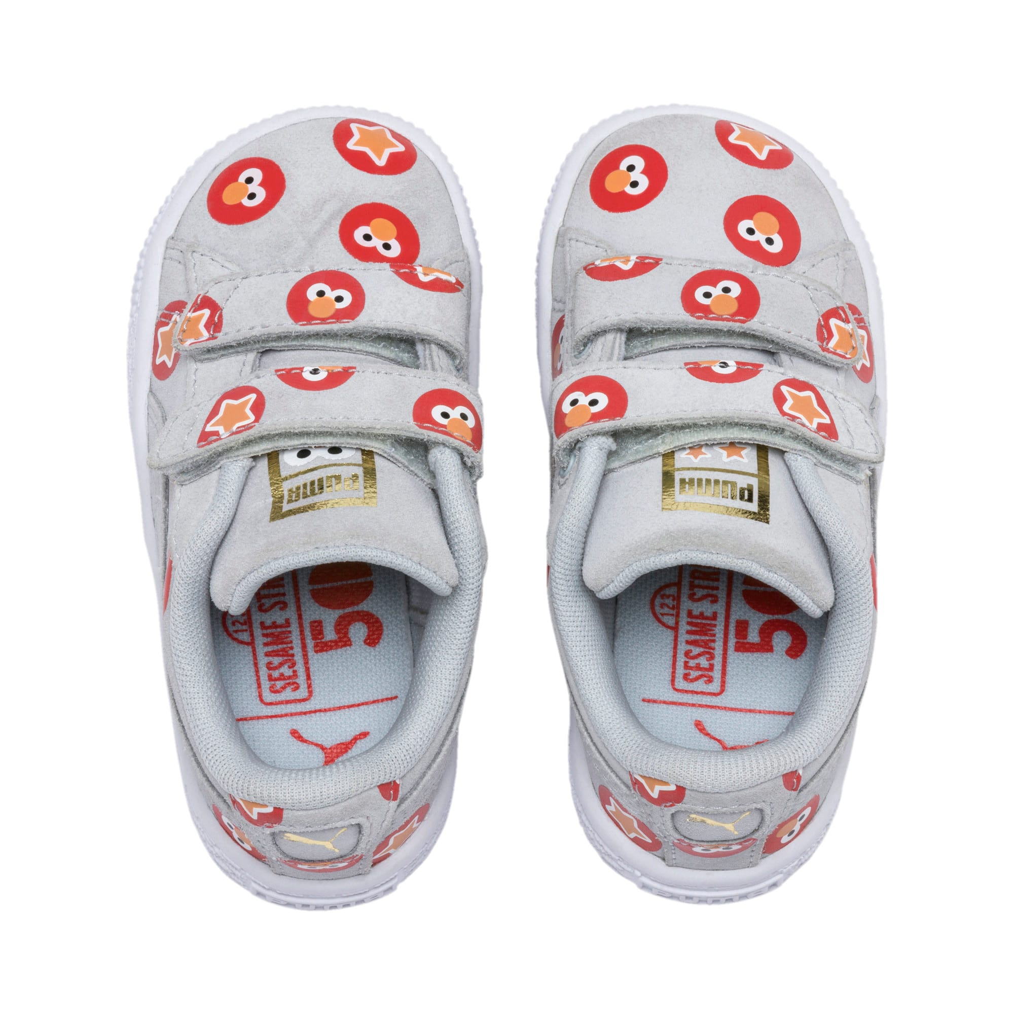 Thumbnail 6 of PUMA x SESAME STREET 50 Suede Badge Toddler Shoes, Grey Dawn-High Risk Red, medium