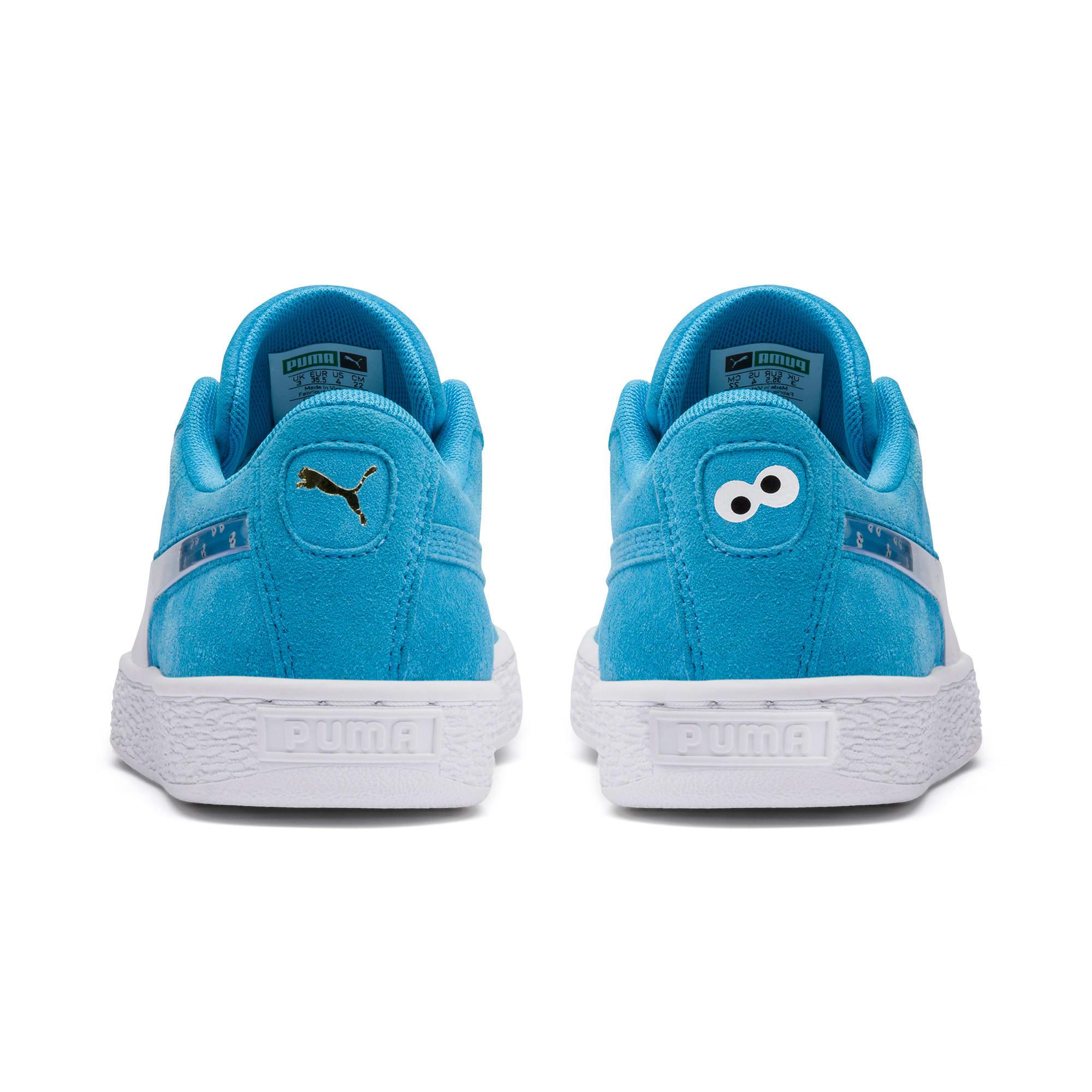 Thumbnail 3 of PUMA x SESAME STREET 50 Suede Statement Sneakers JR, Bleu Azur-Puma White, medium