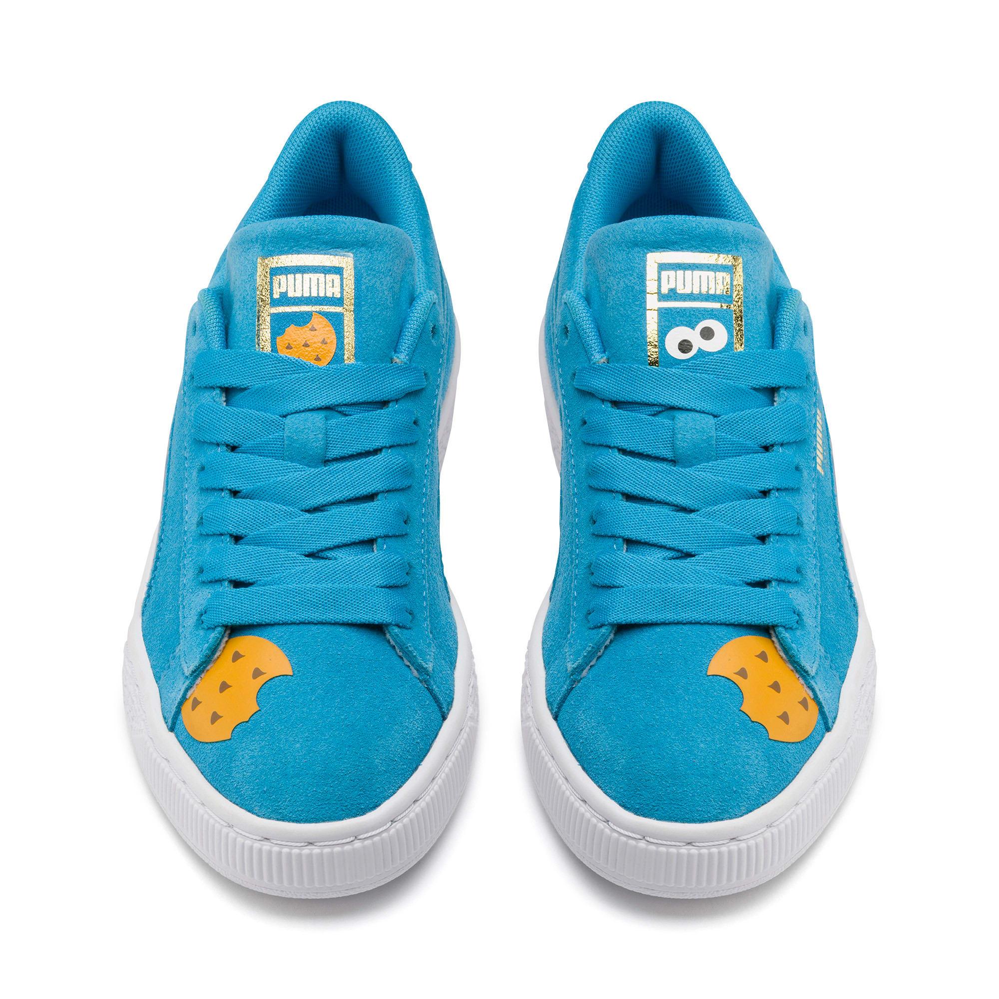 Thumbnail 7 of PUMA x SESAME STREET 50 Suede Statement Sneakers JR, Bleu Azur-Puma White, medium