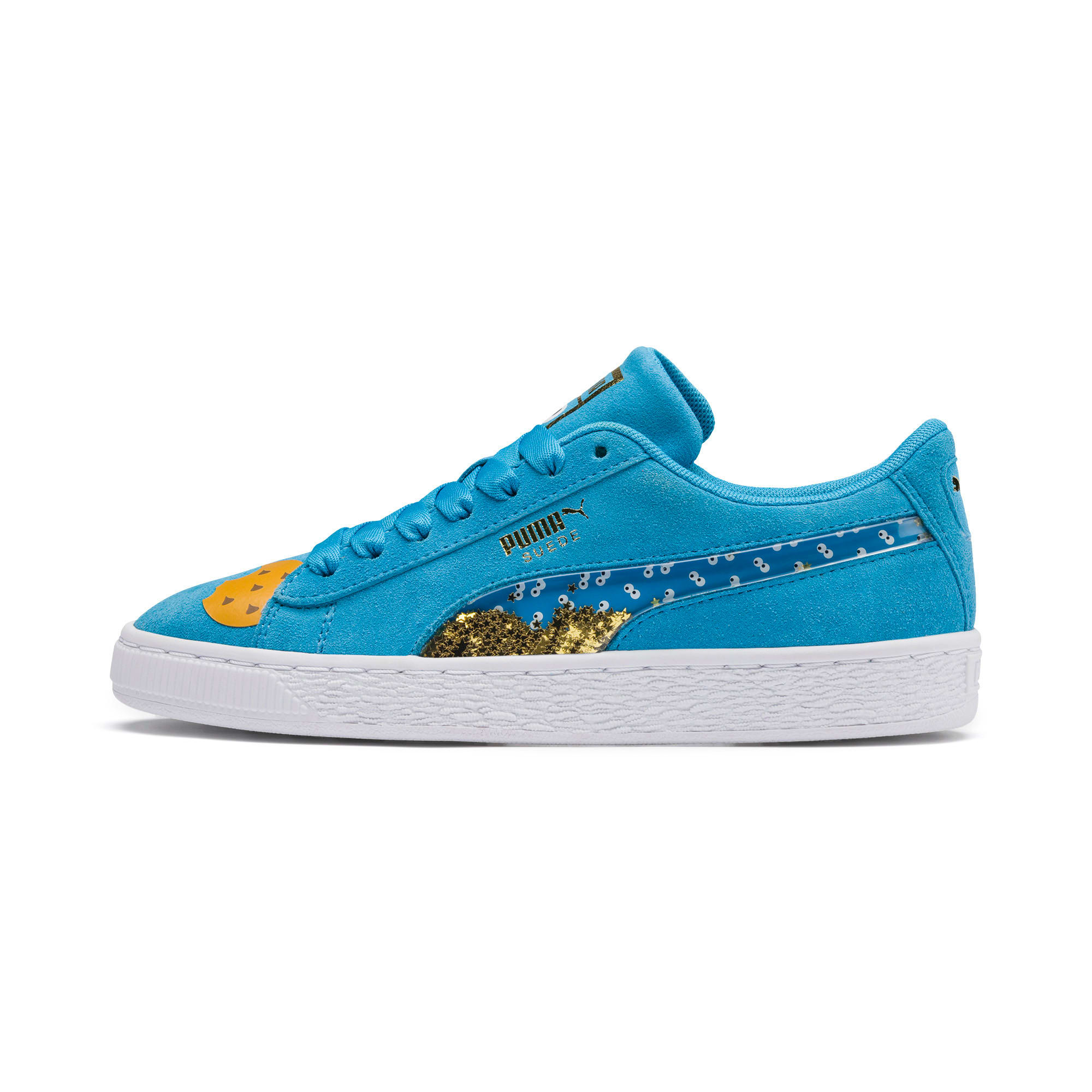 Thumbnail 1 of PUMA x SESAME STREET 50 Suede Statement Sneakers JR, Bleu Azur-Puma White, medium