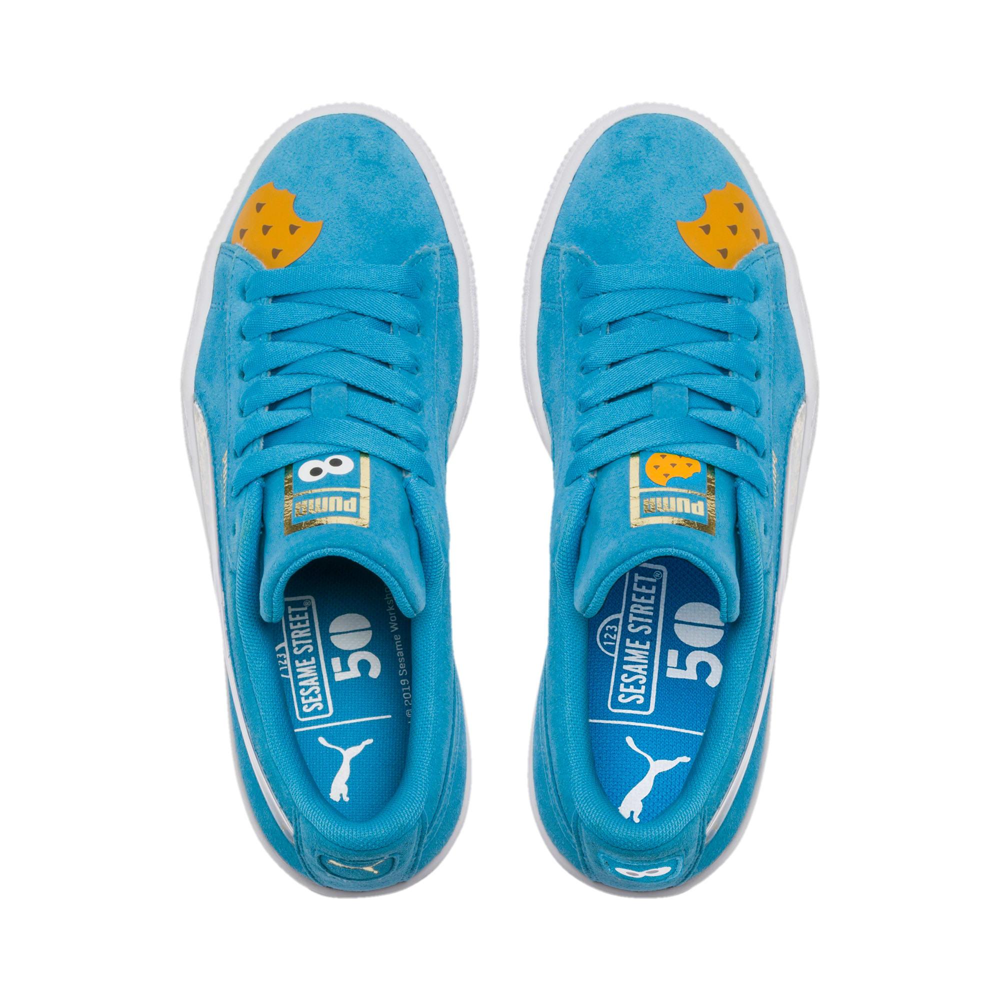 Thumbnail 6 of PUMA x SESAME STREET 50 Suede Statement Sneakers JR, Bleu Azur-Puma White, medium