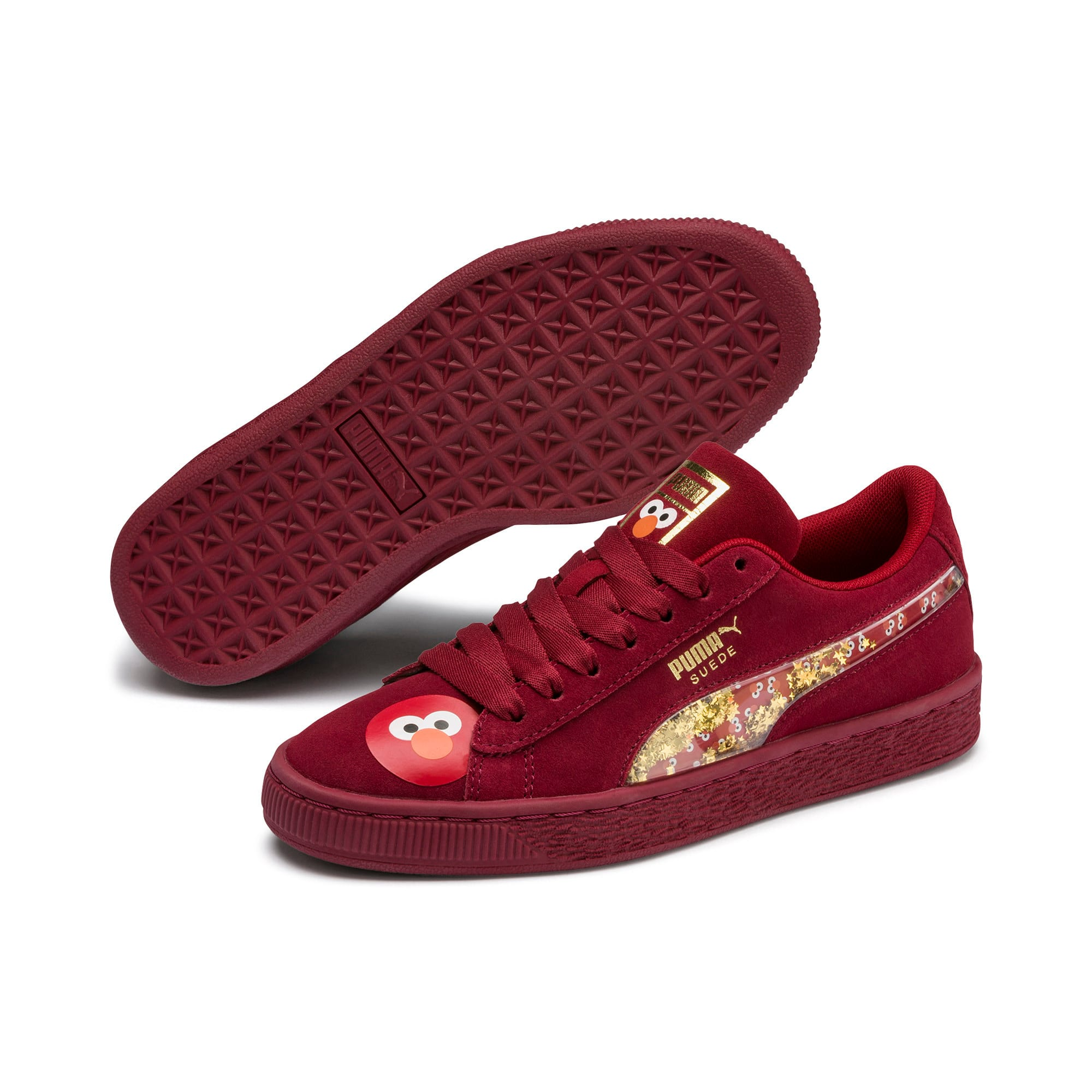 Thumbnail 2 of Sesame Street 50 Suede Statement Youth Trainers, Rhubarb-Puma White, medium