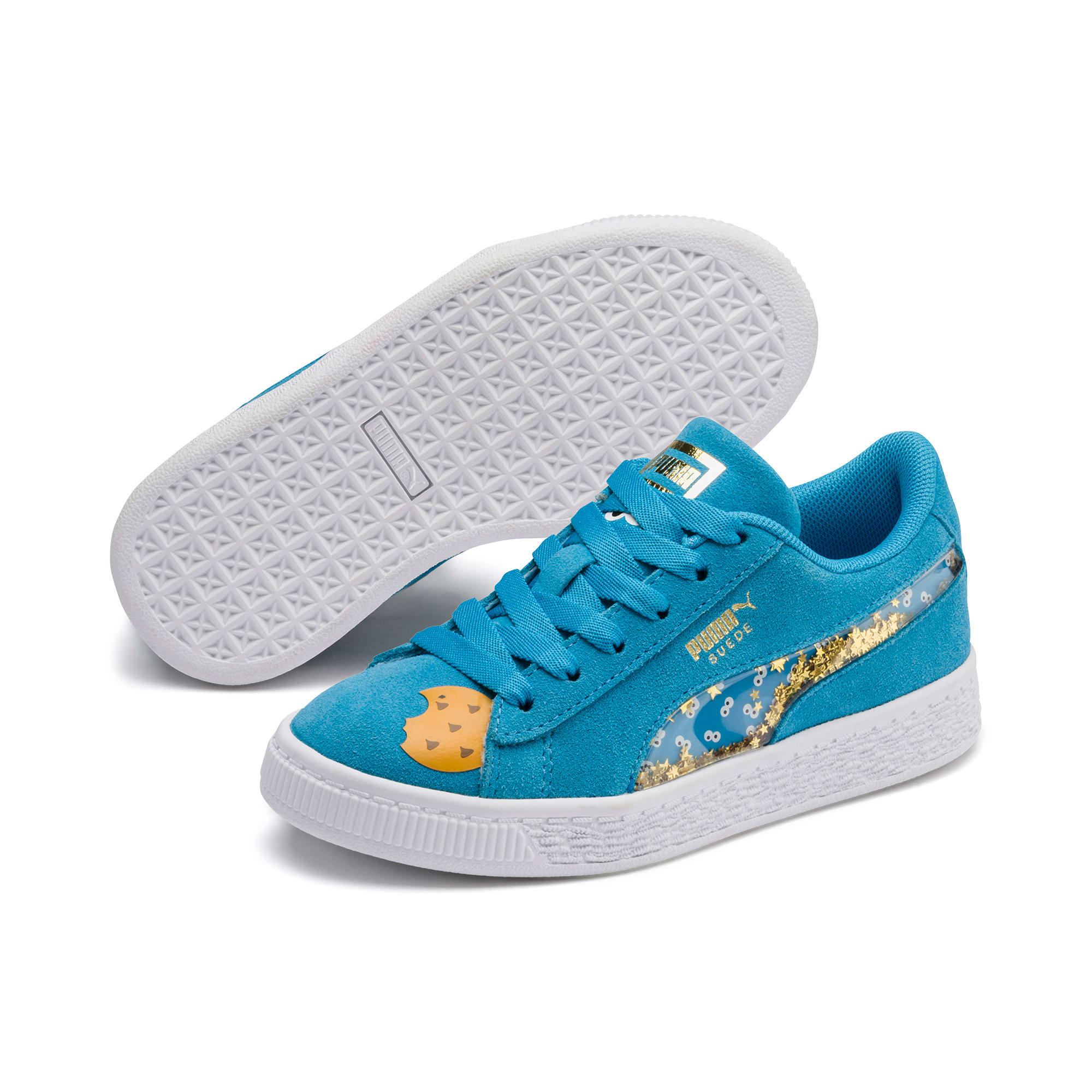 Thumbnail 2 of Sesamstraße 50 Suede Statement Kids Sneaker, Bleu Azur-Puma White, medium