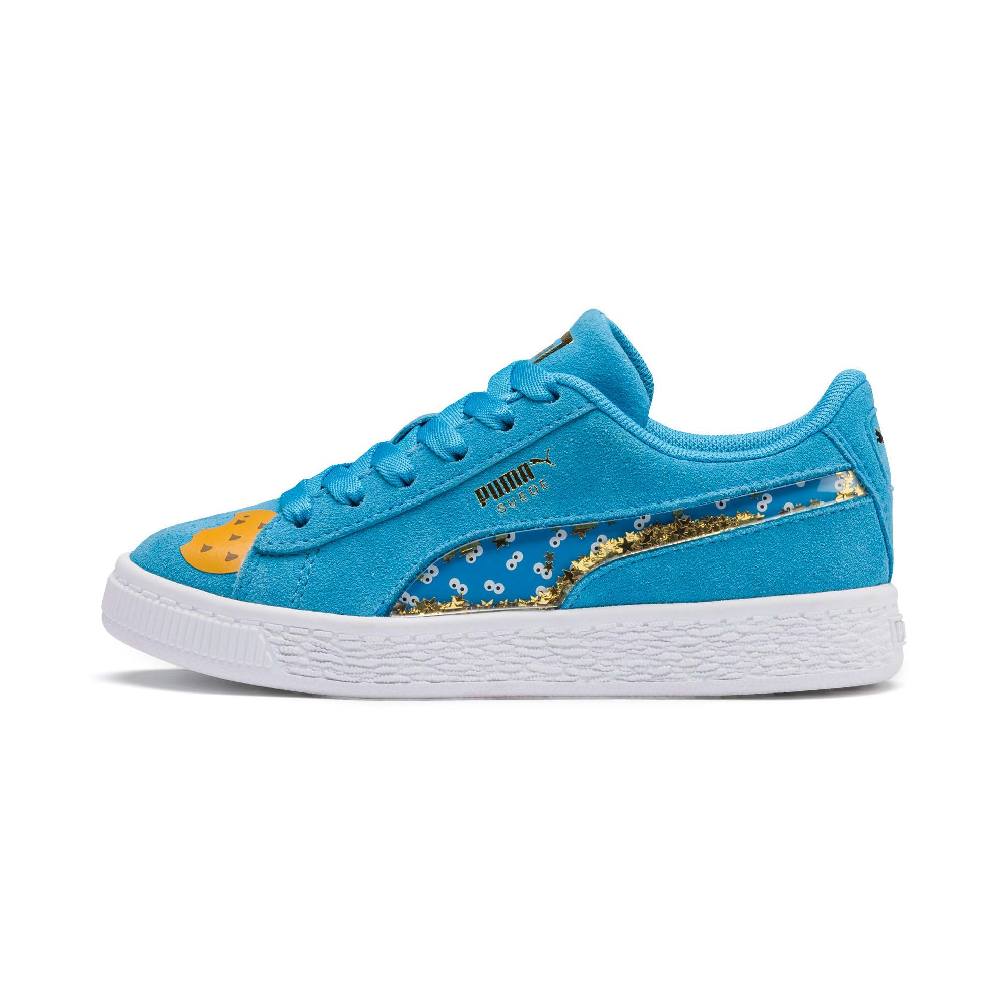 Thumbnail 1 of Sesamstraße 50 Suede Statement Kids Sneaker, Bleu Azur-Puma White, medium