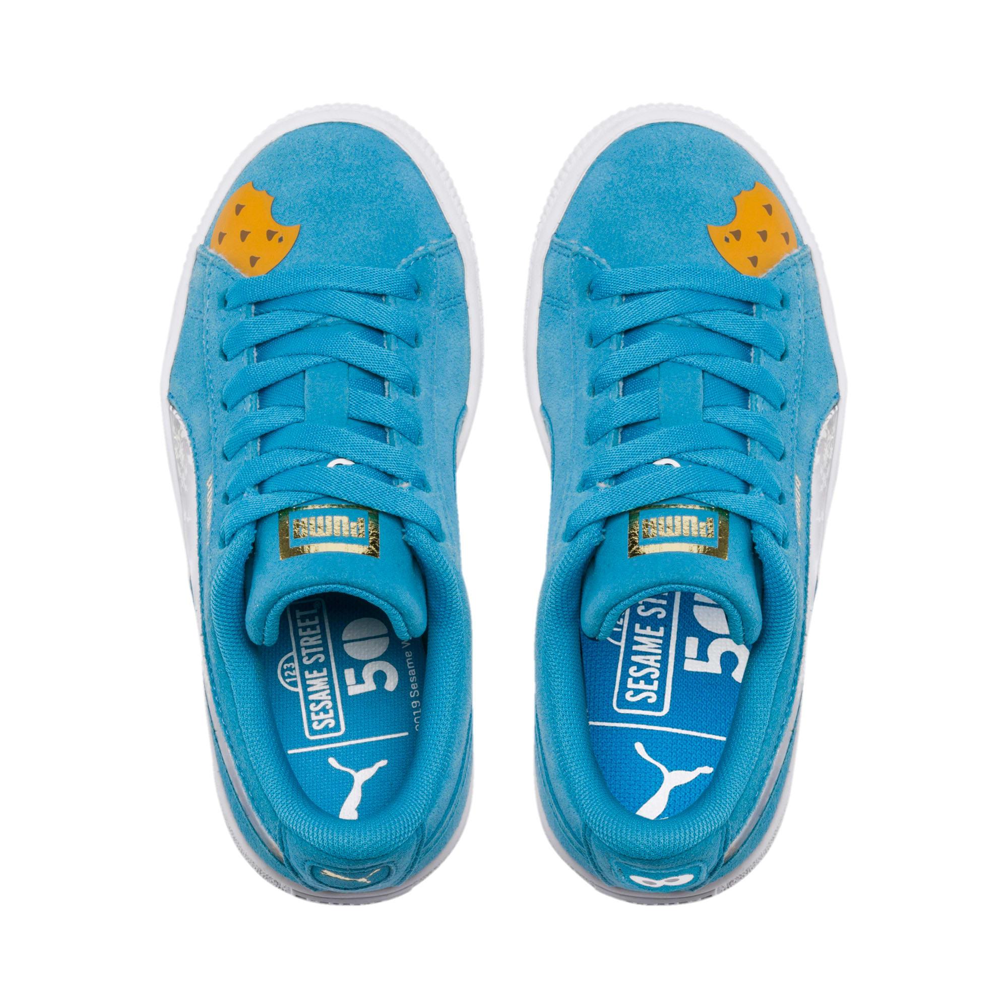 Thumbnail 6 of Sesamstraße 50 Suede Statement Kids Sneaker, Bleu Azur-Puma White, medium