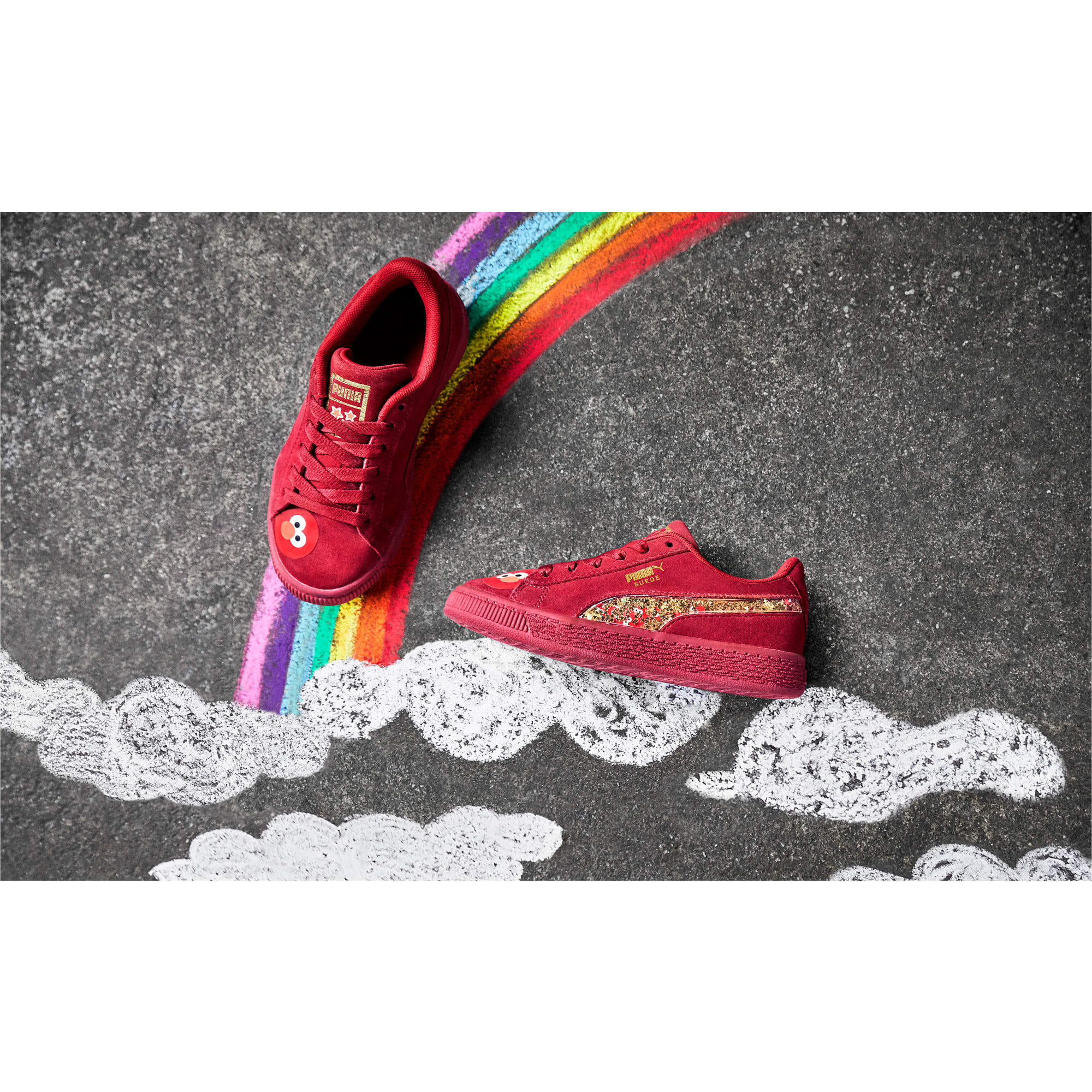 Thumbnail 9 of PUMA x SESAME STREET 50 Suede Statement Little Kids' Shoes, Rhubarb-Puma White, medium