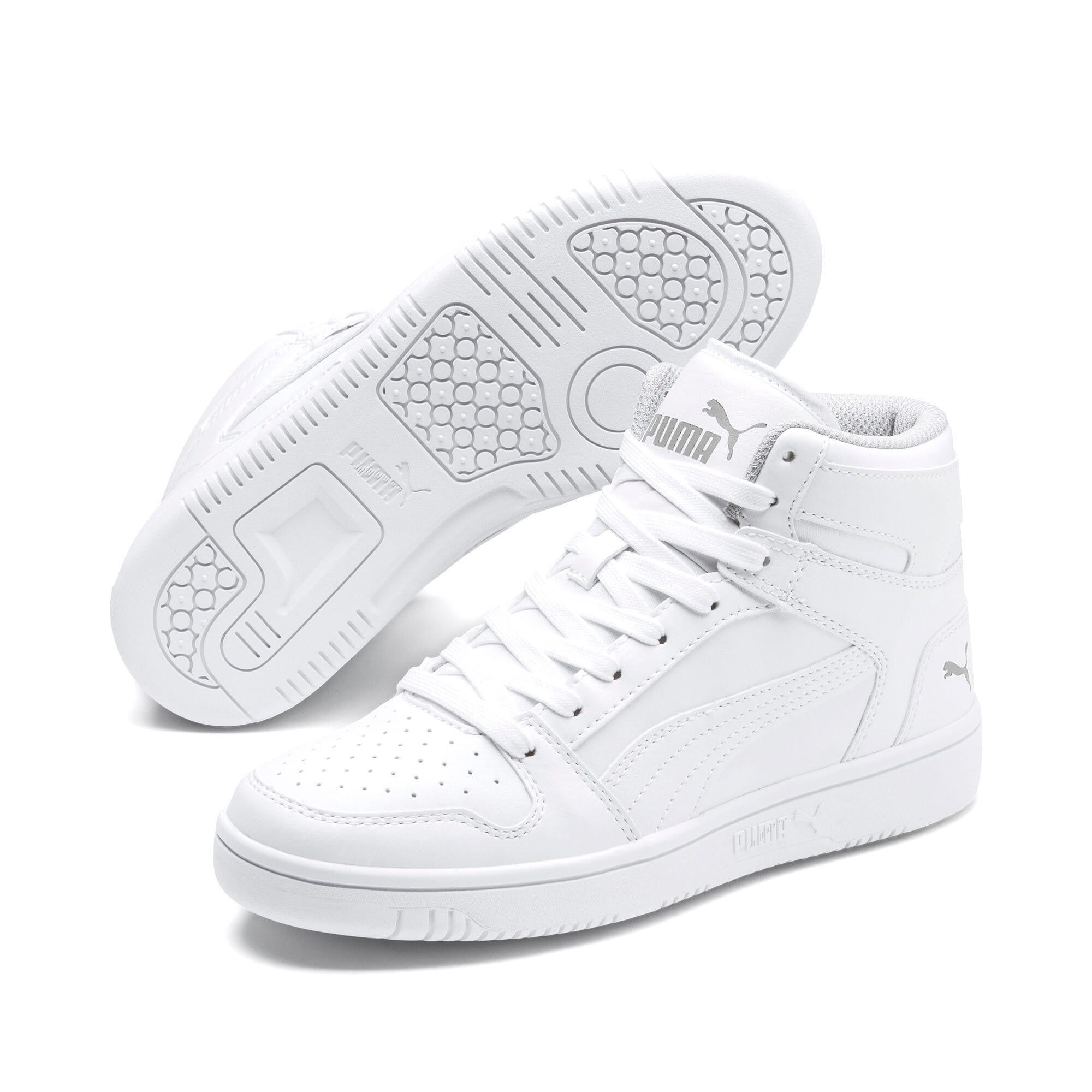 Thumbnail 2 of PUMA Rebound LayUp Mid Sneakers JR, Puma White-Gray Violet, medium