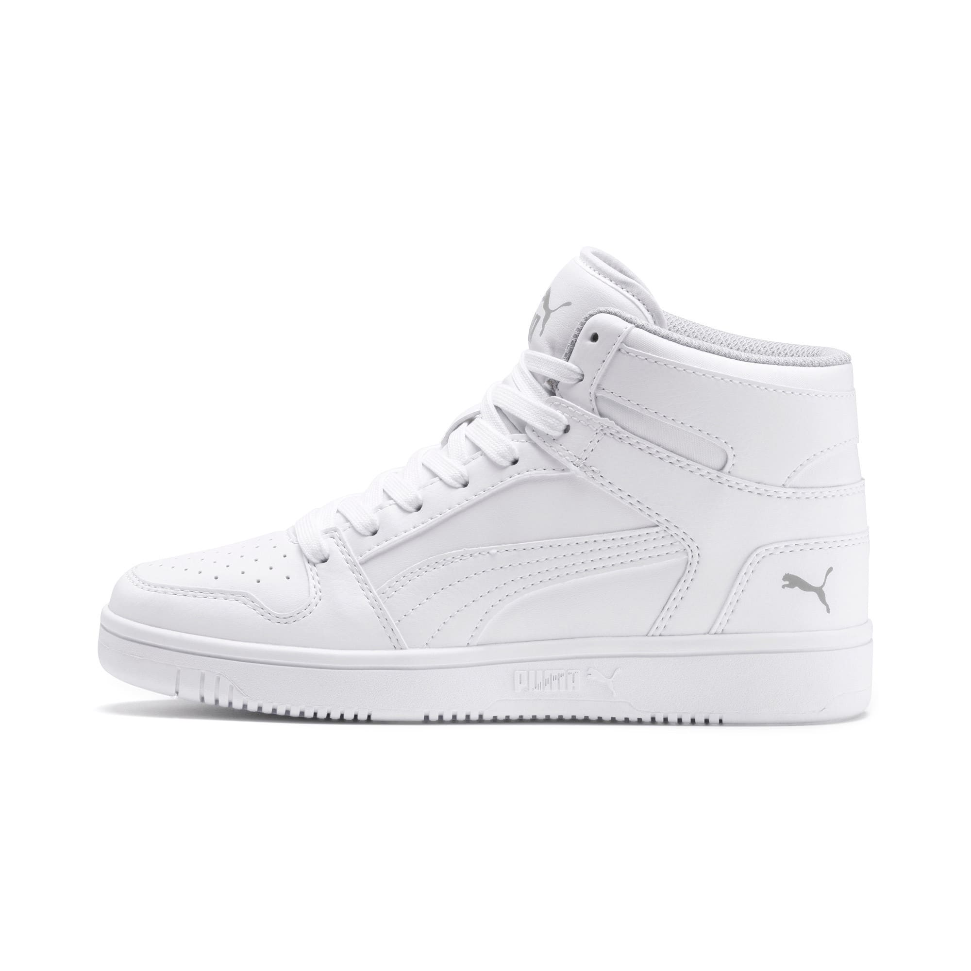 Thumbnail 1 of PUMA Rebound LayUp Mid Sneakers JR, Puma White-Gray Violet, medium