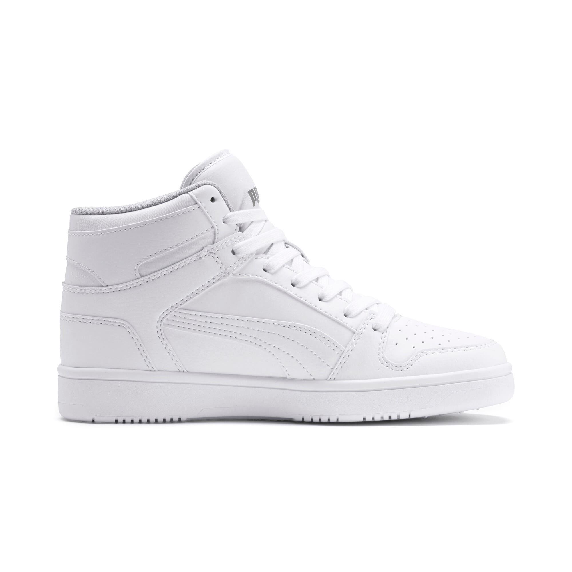 Thumbnail 5 of PUMA Rebound LayUp Mid Sneakers JR, Puma White-Gray Violet, medium