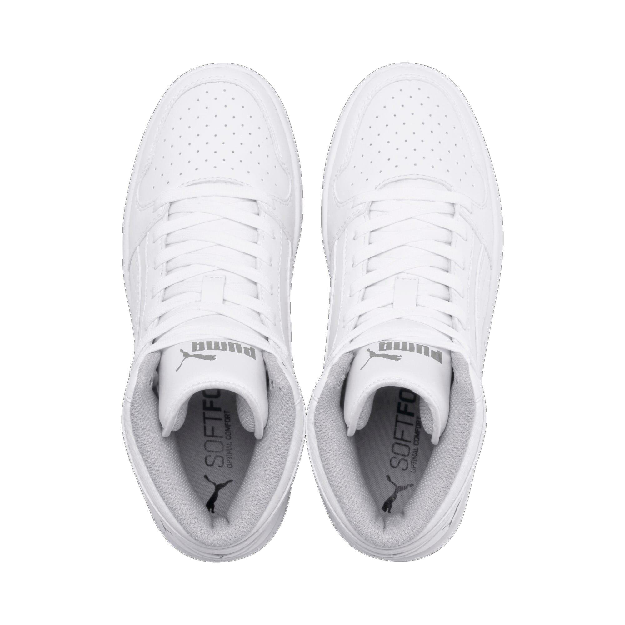 Thumbnail 6 of PUMA Rebound LayUp Mid Sneakers JR, Puma White-Gray Violet, medium