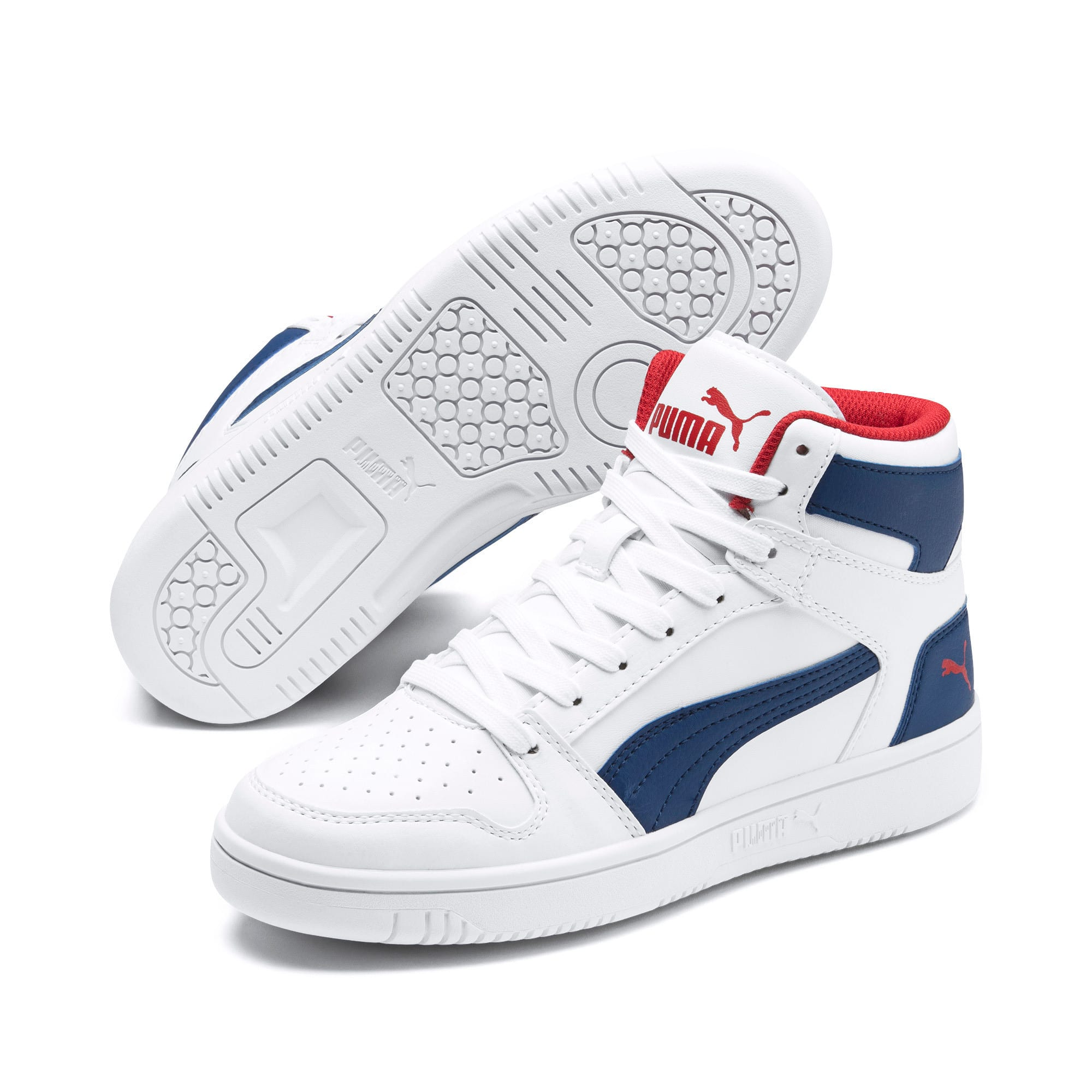 Thumbnail 2 of Rebound Lay-Up SL Youth Trainers, White-Galaxy Blue-Red, medium
