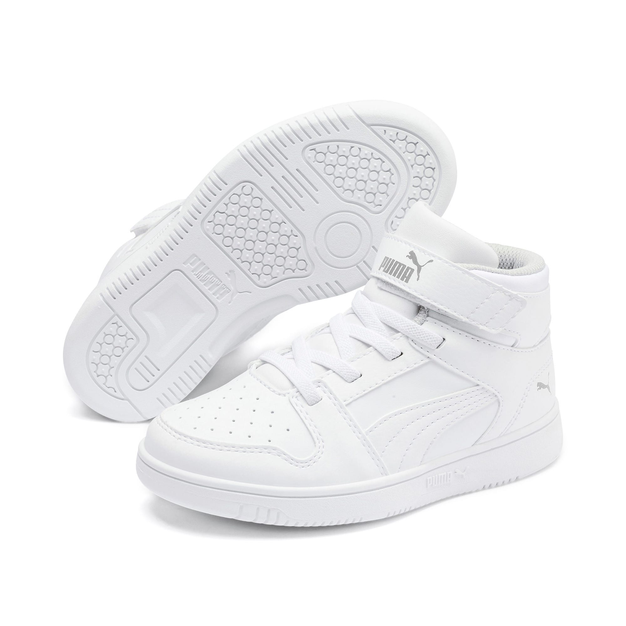 Thumbnail 2 of Rebound Lay-Up SL V Kids Sneaker, Puma White-Gray Violet, medium
