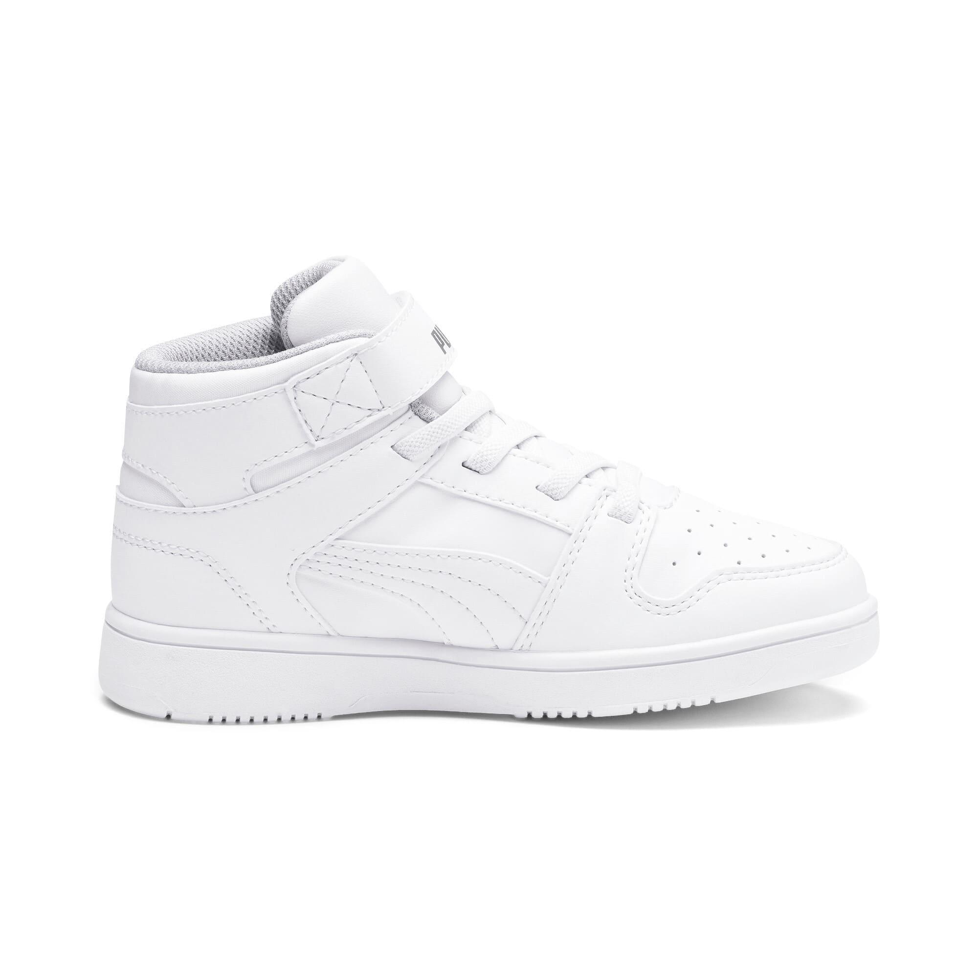 Thumbnail 5 of Rebound Lay-Up SL V Kids Sneaker, Puma White-Gray Violet, medium