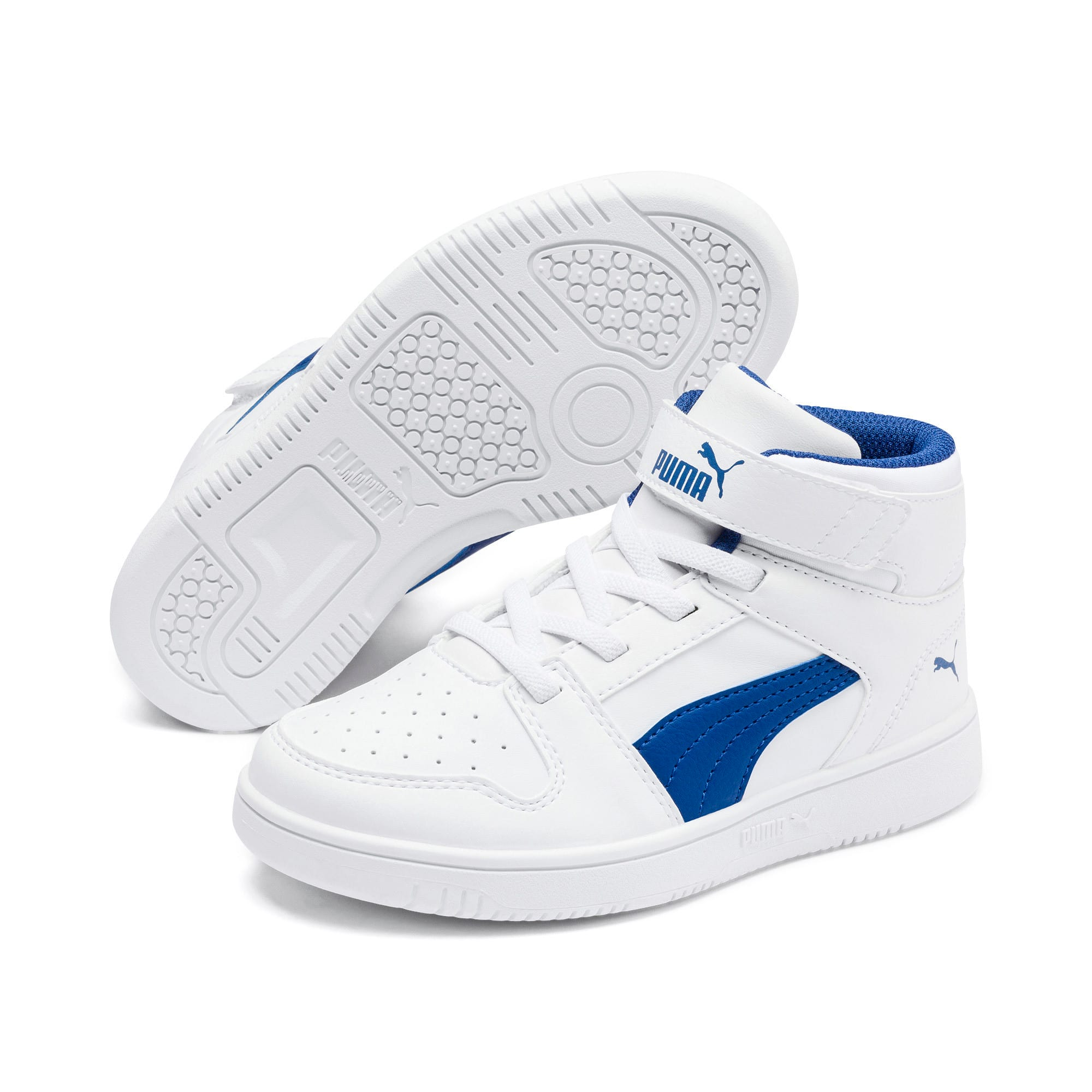 Thumbnail 2 of Rebound Lay-Up SL V Kids' Trainers, Puma White-Galaxy Blue, medium-IND