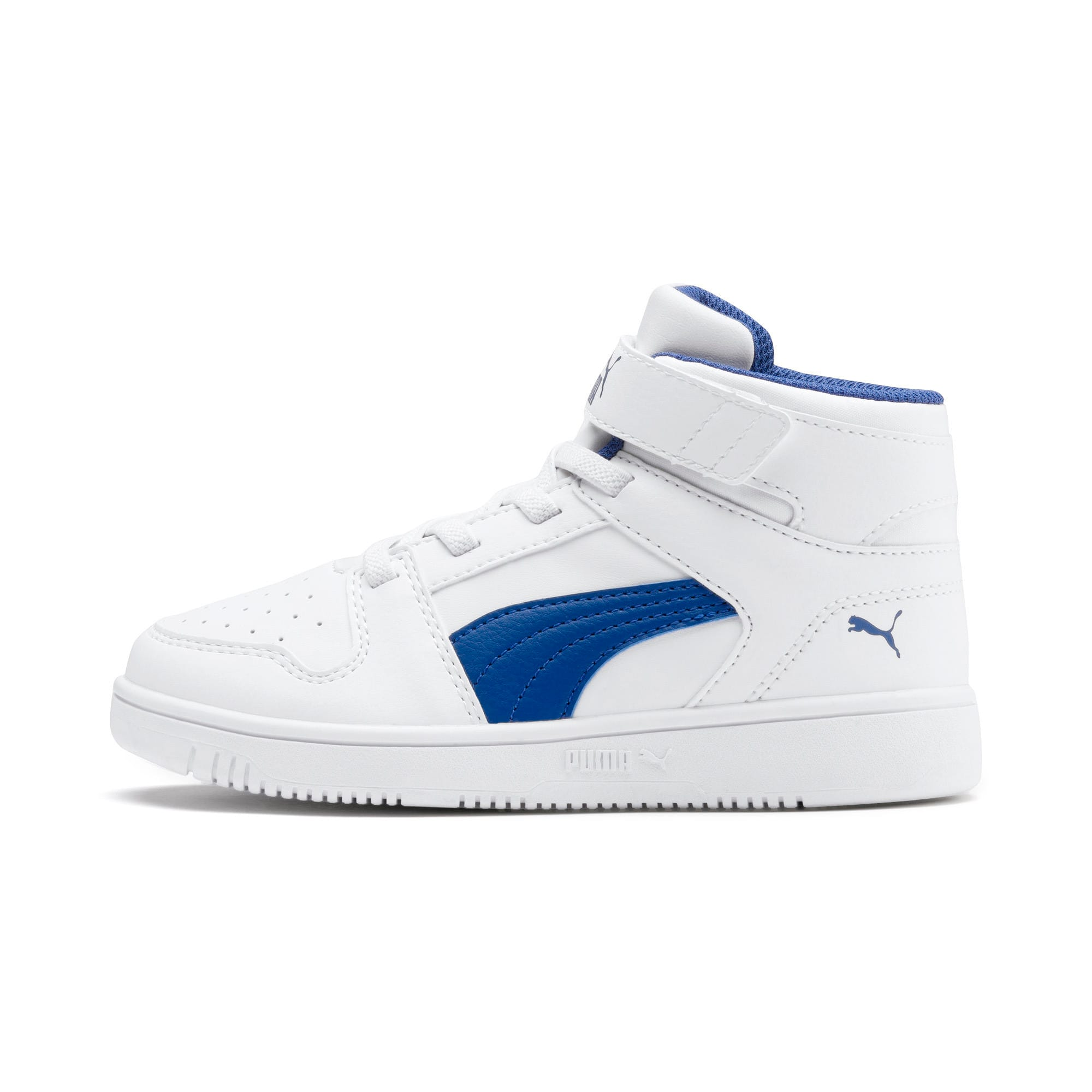 Thumbnail 1 of Rebound Lay-Up SL V Kids' Trainers, Puma White-Galaxy Blue, medium-IND