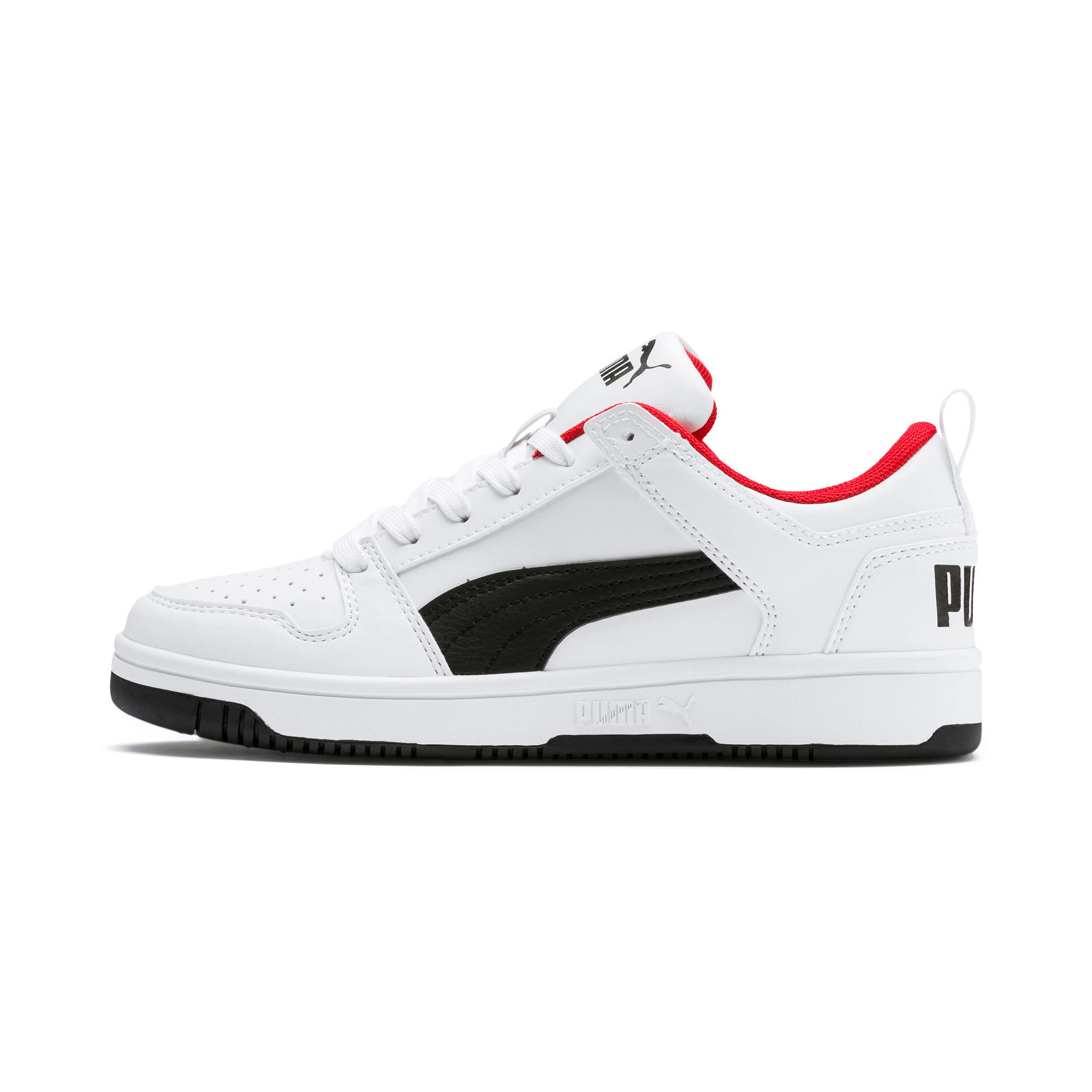 Thumbnail 1 of Rebound Lay-Up Lo Youth Trainers, Puma White-Puma Black-Red, medium-IND