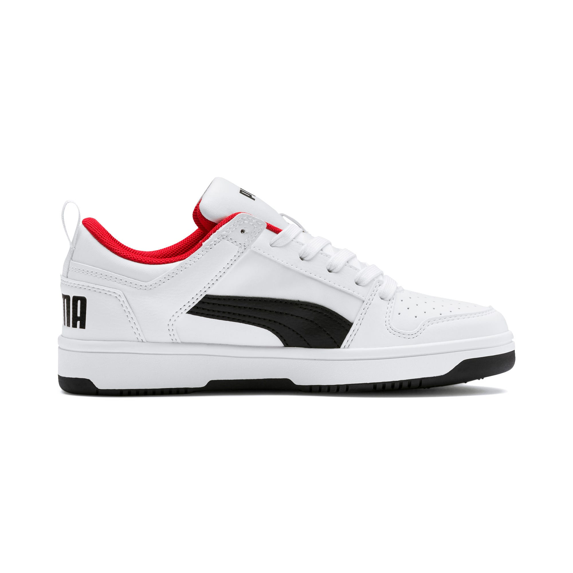 Thumbnail 5 of Rebound Lay-Up Lo Youth Trainers, Puma White-Puma Black-Red, medium-IND