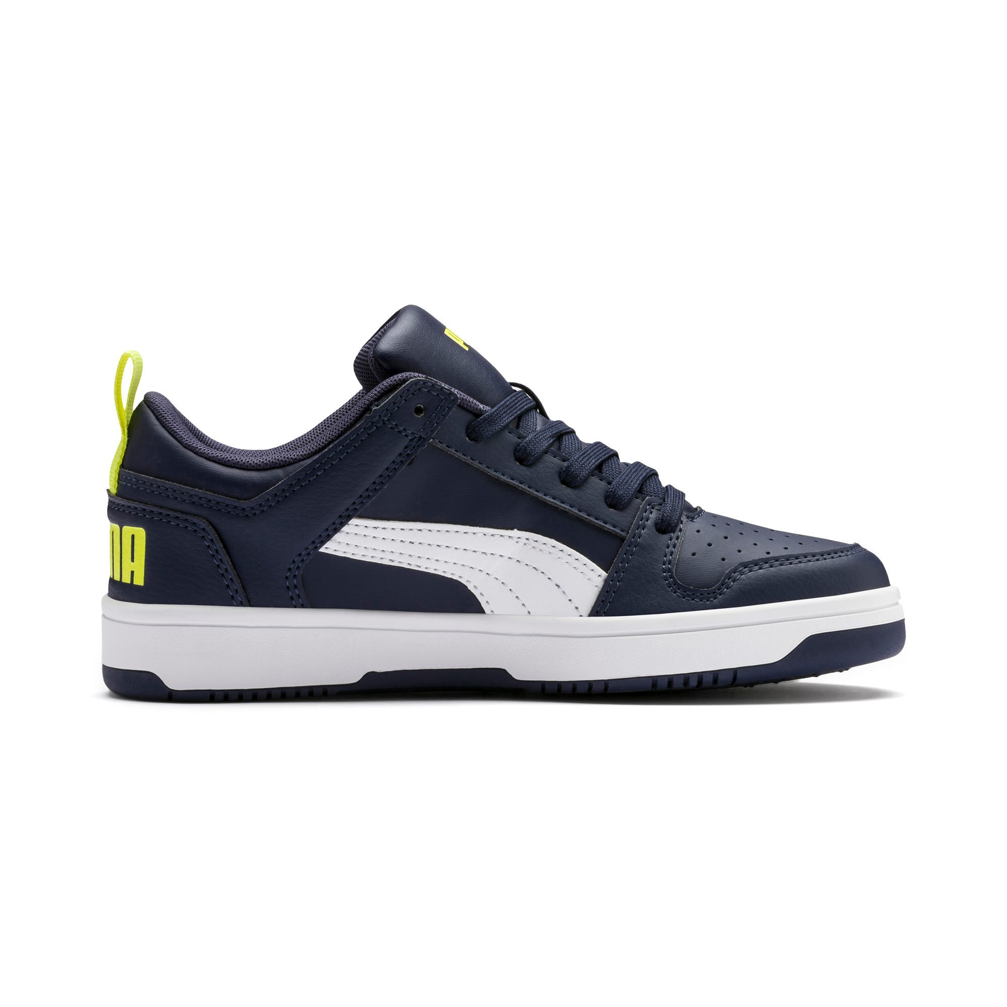 Thumbnail 5 of Rebound Lay-Up Lo Youth Trainers, Peacoat-White-Fluo Yellow, medium