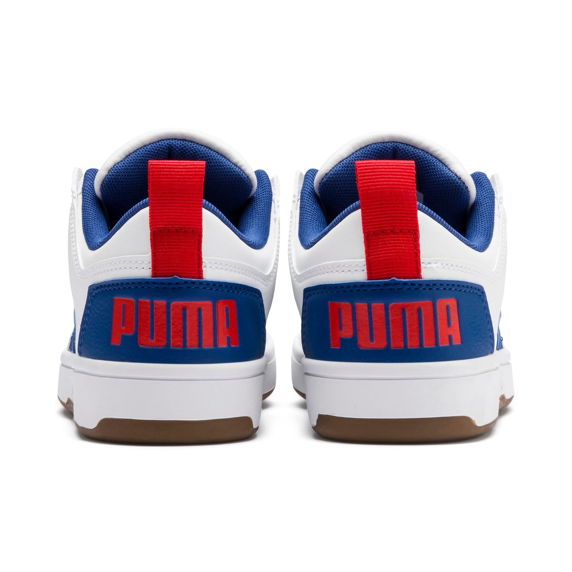 Thumbnail 3 of Rebound Lay-Up Lo Youth Trainers, Puma White-Galaxy Blue-Red, medium