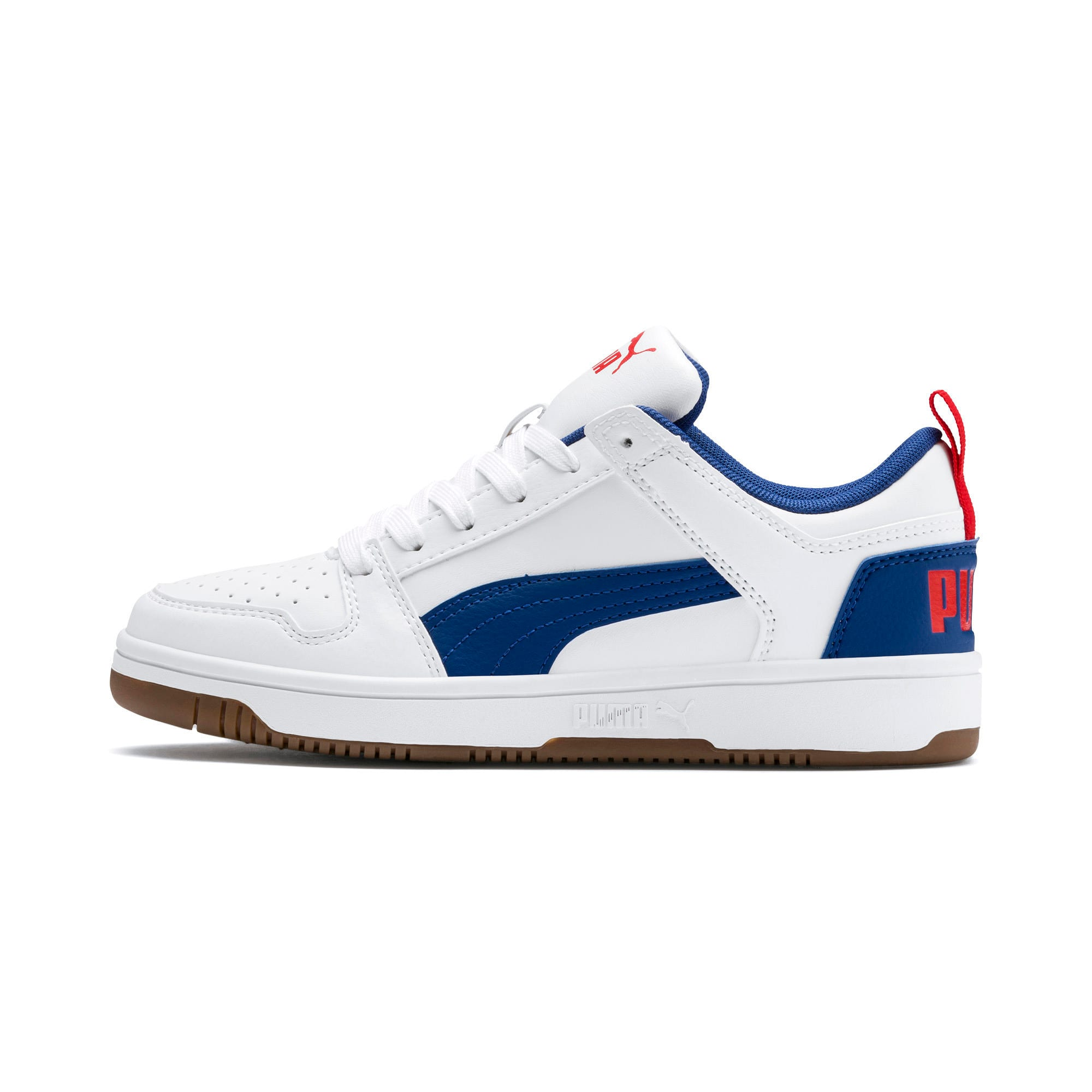 Thumbnail 1 of Rebound Lay-Up Lo Youth Trainers, Puma White-Galaxy Blue-Red, medium