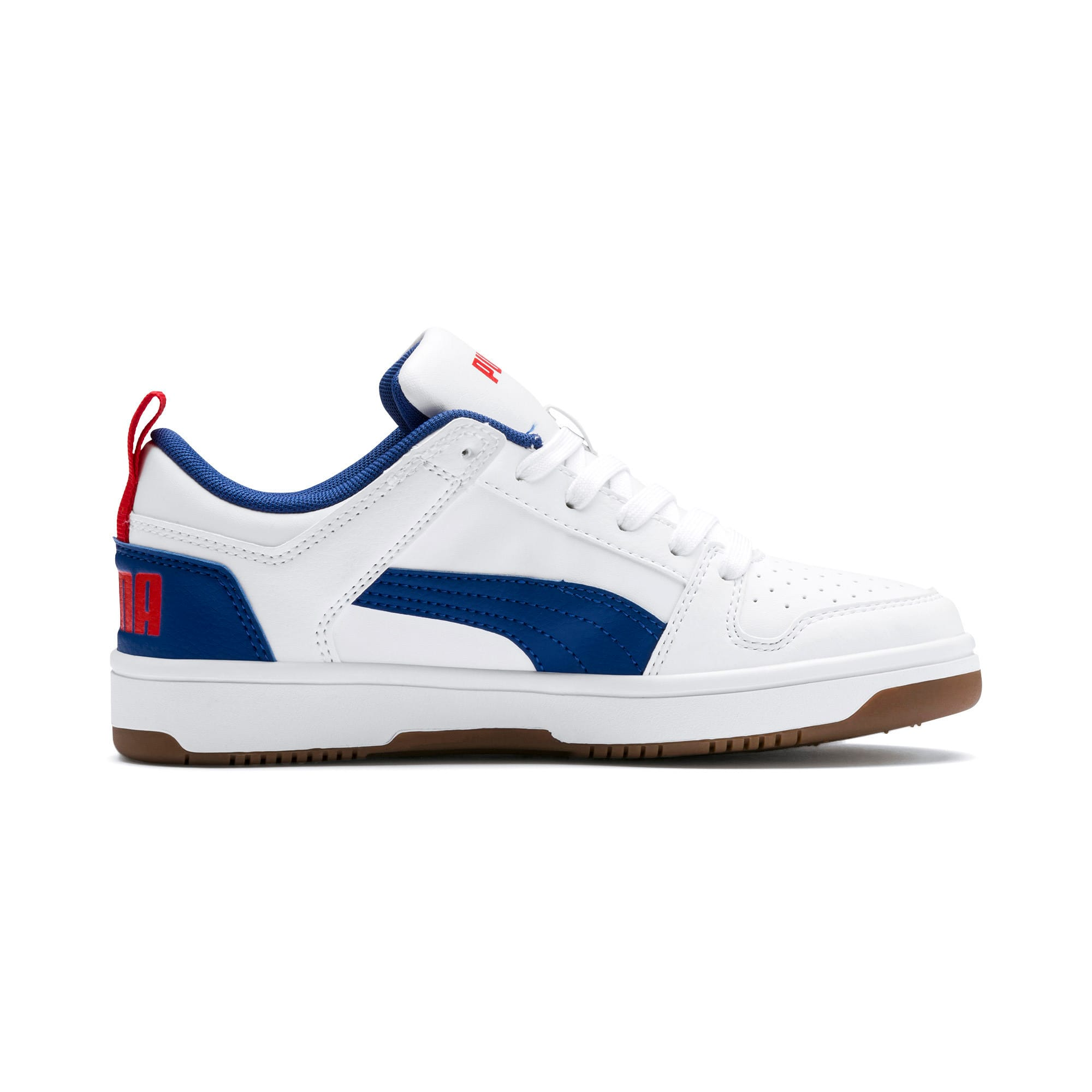 Thumbnail 5 of Rebound Lay-Up Lo Youth Trainers, Puma White-Galaxy Blue-Red, medium