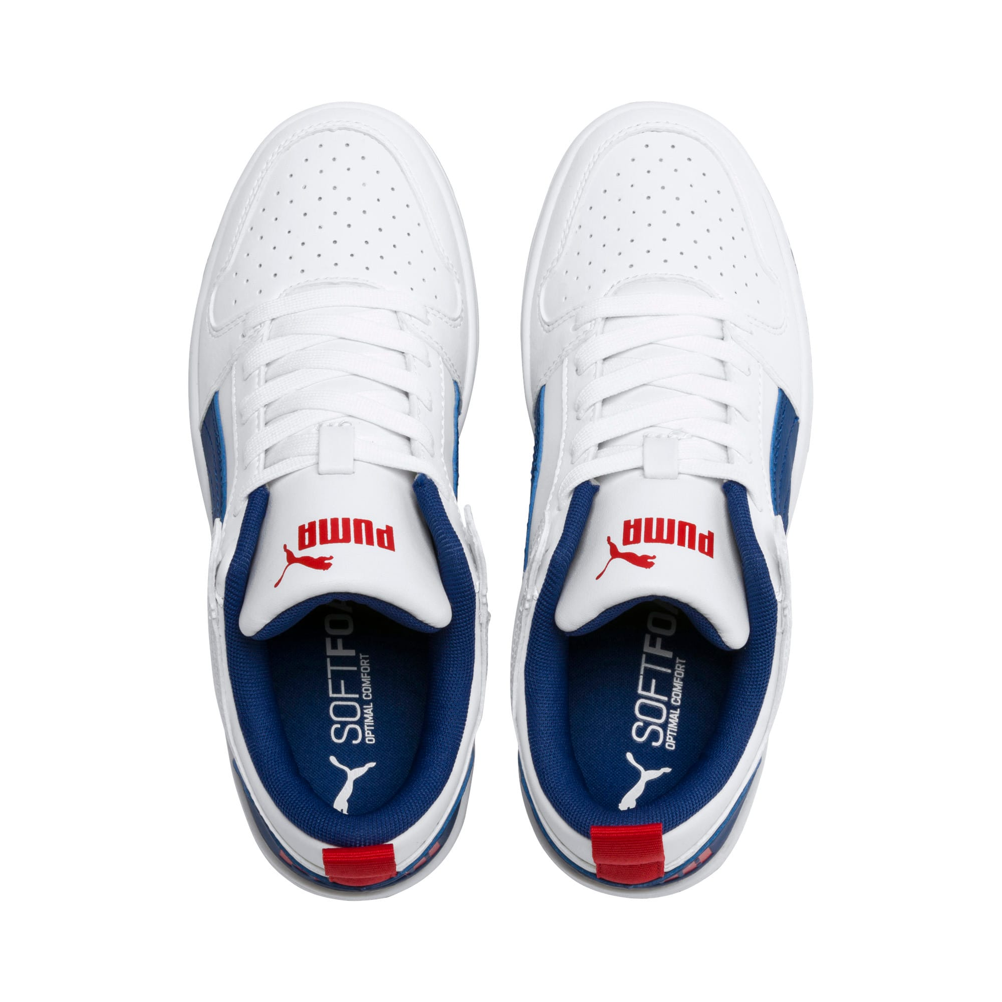 Thumbnail 6 of Rebound Lay-Up Lo Youth Trainers, Puma White-Galaxy Blue-Red, medium