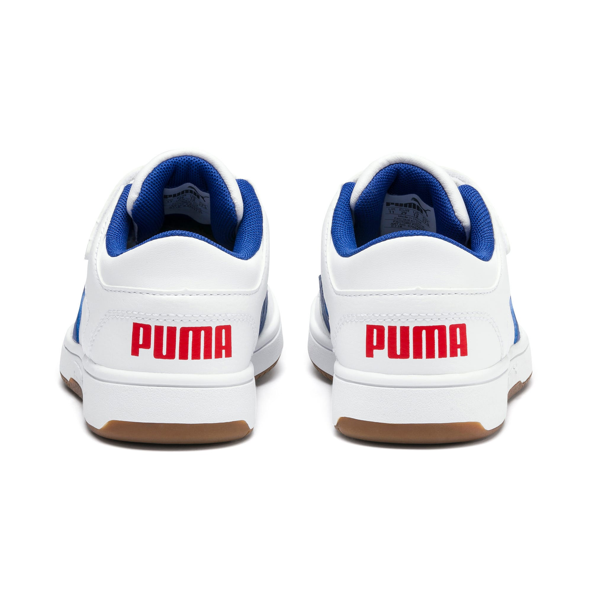Thumbnail 3 of Rebound Lay-Up Lo V Kids' Trainers, Puma White-Galaxy Blue-Red, medium