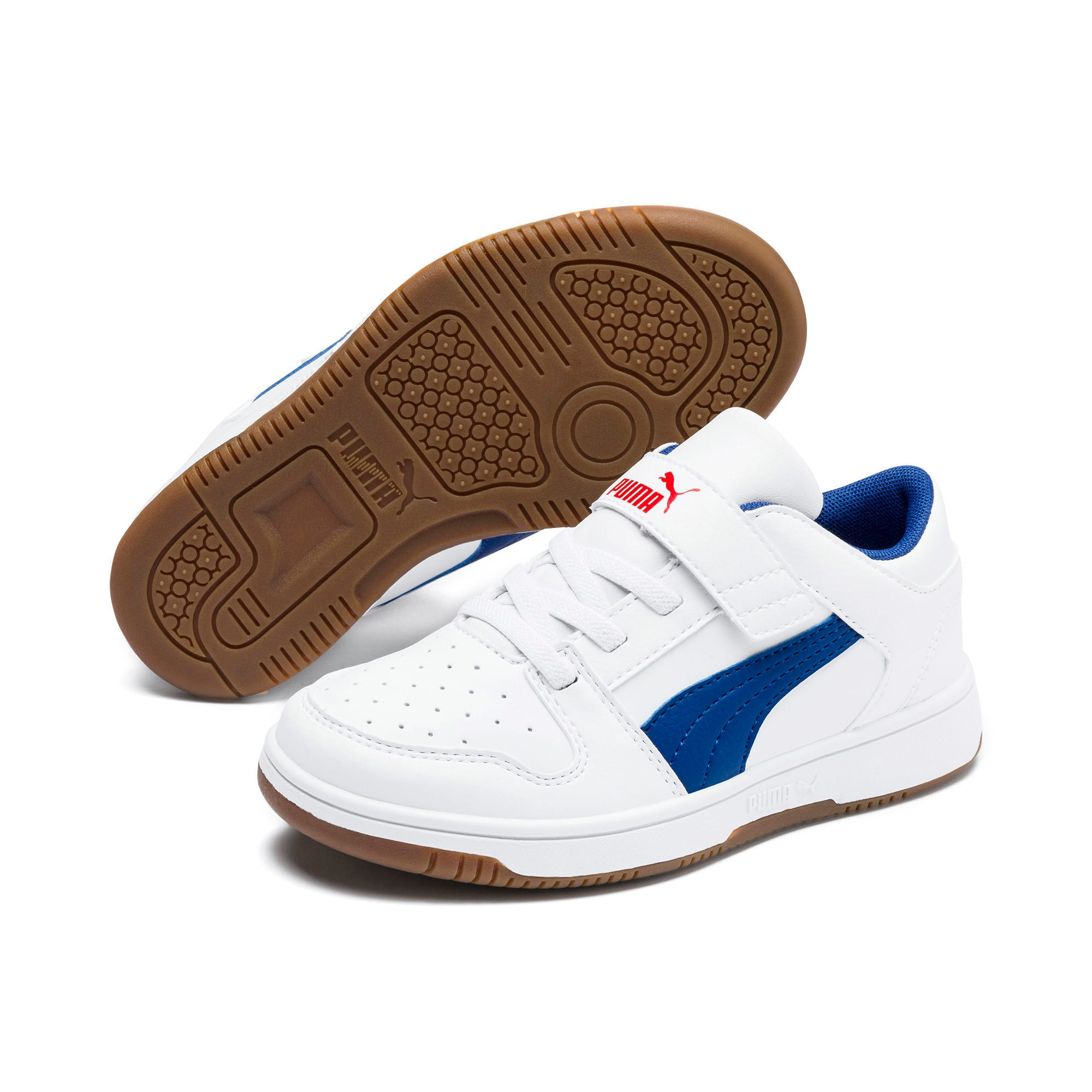 Thumbnail 2 of Rebound Lay-Up Lo V Kids' Trainers, Puma White-Galaxy Blue-Red, medium