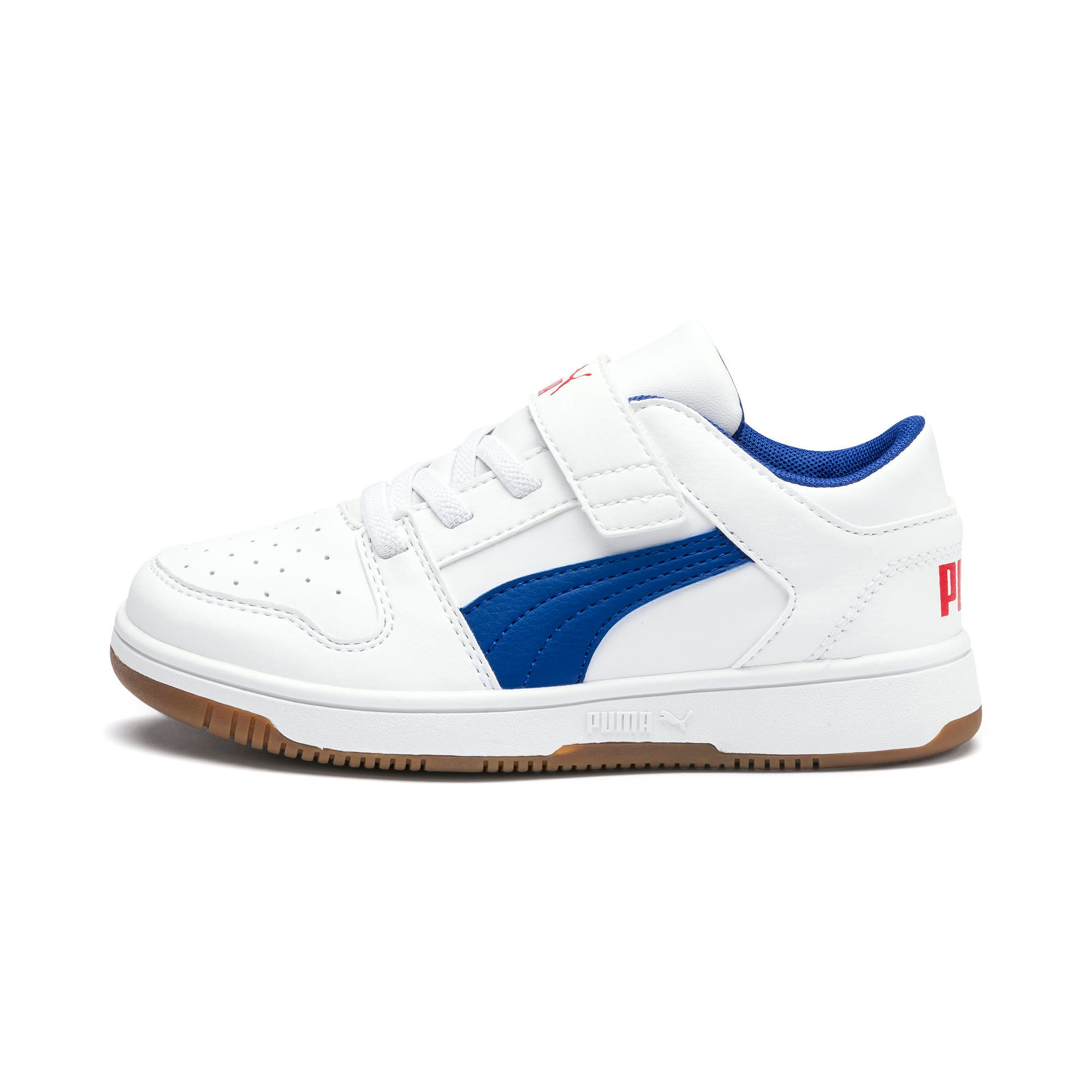 Thumbnail 1 of Rebound Lay-Up Lo V Kids' Trainers, Puma White-Galaxy Blue-Red, medium