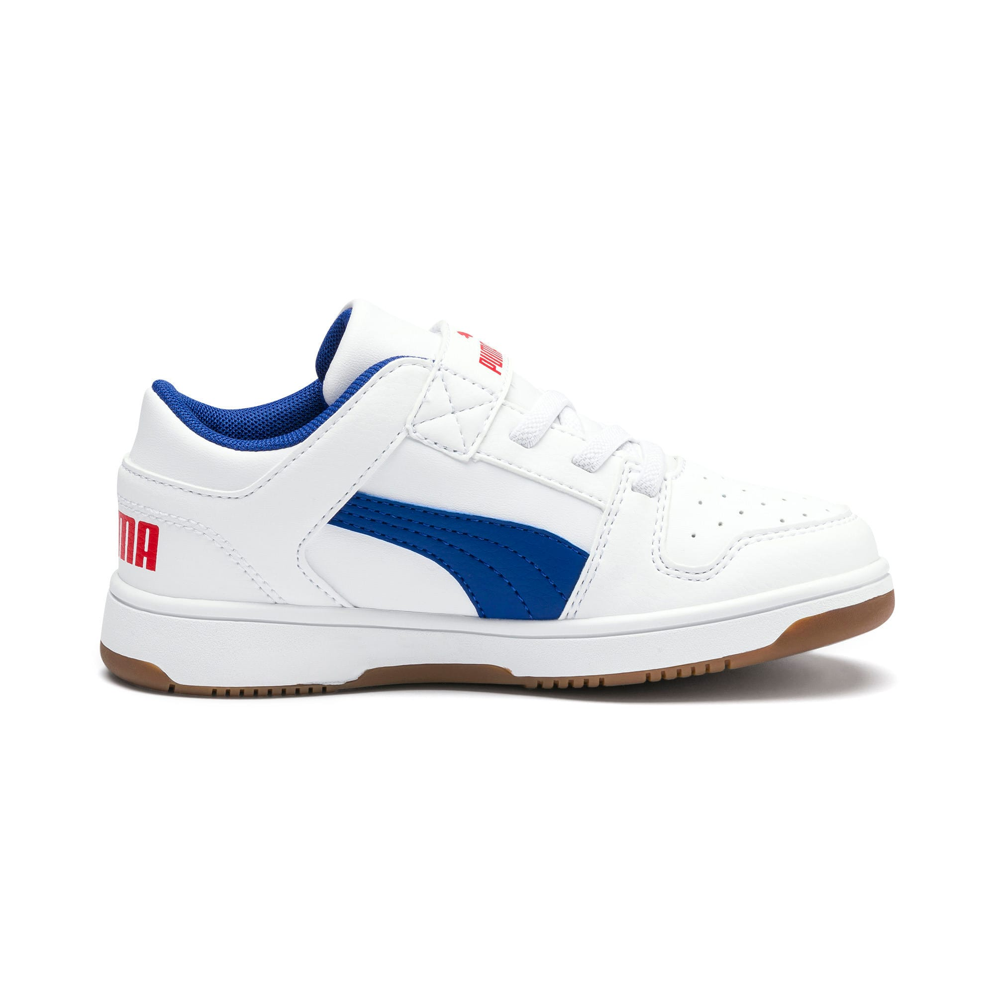 Thumbnail 5 of Rebound Lay-Up Lo V Kids' Trainers, Puma White-Galaxy Blue-Red, medium