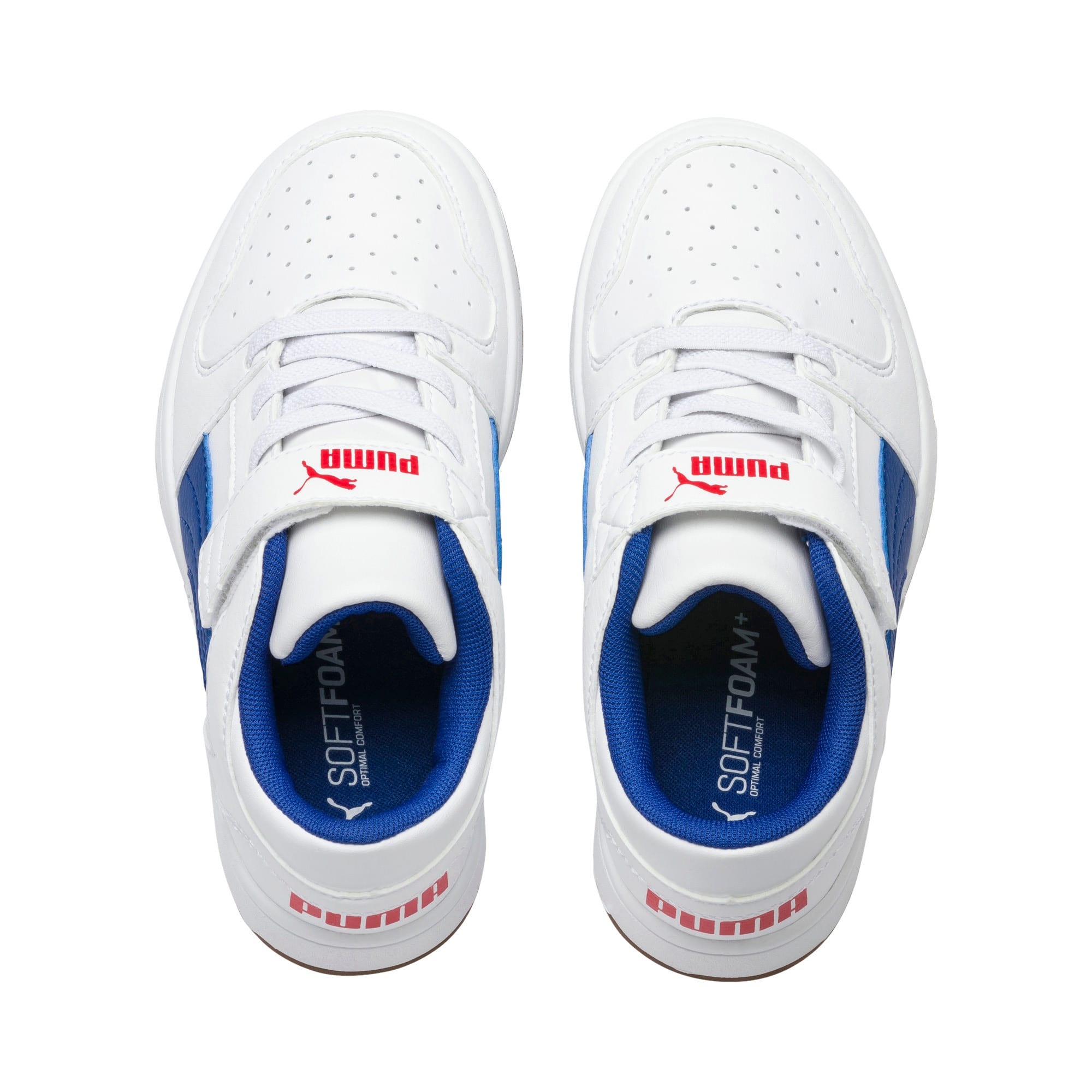 Thumbnail 6 of Rebound Lay-Up Lo V Kids' Trainers, Puma White-Galaxy Blue-Red, medium