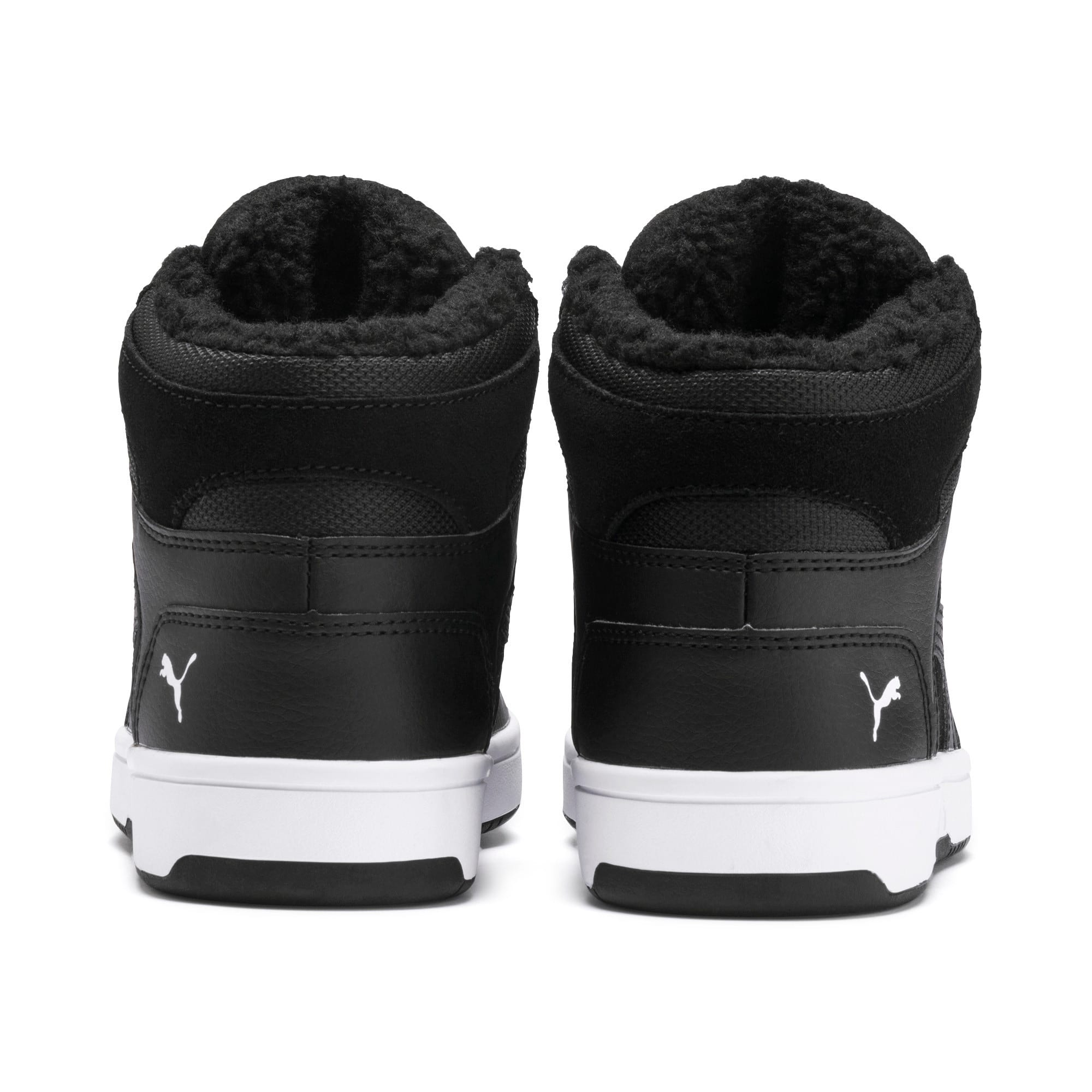 Thumbnail 3 of Rebound Lay-Up Fur SD Youth Sneaker, Puma Black-Puma White, medium