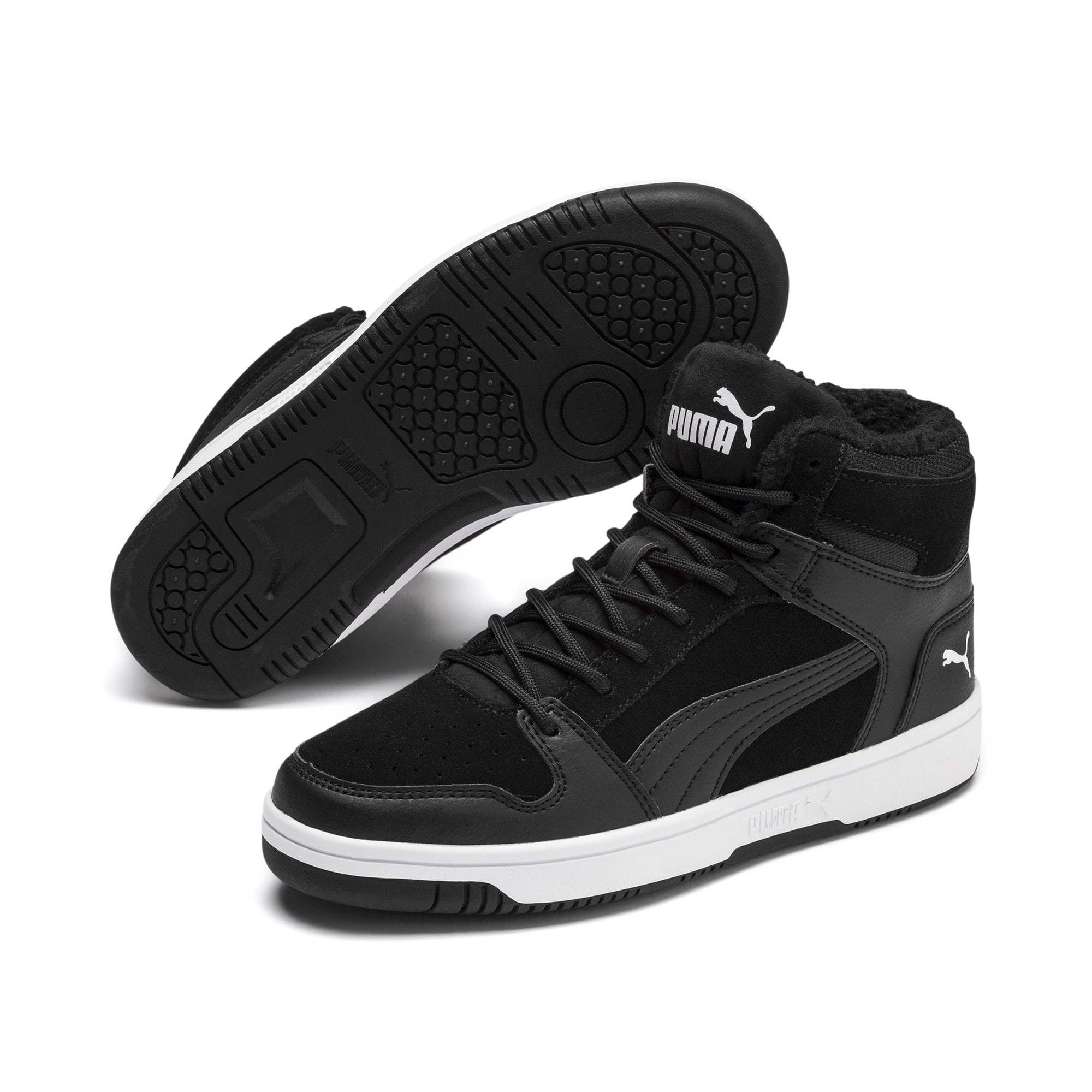 Thumbnail 2 of Rebound Lay-Up Fur SD Youth Sneaker, Puma Black-Puma White, medium