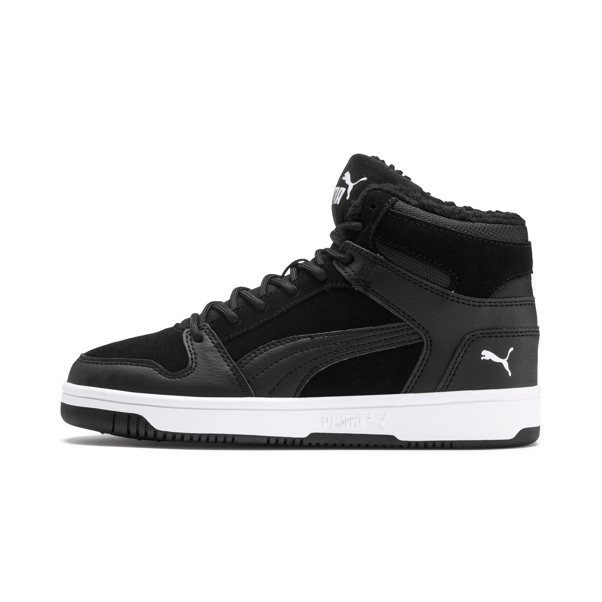 Thumbnail 1 of Rebound Lay-Up Fur SD Youth Sneaker, Puma Black-Puma White, medium