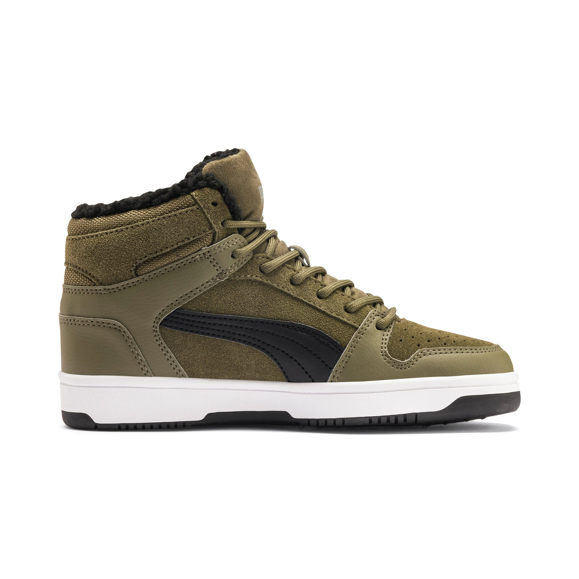 Thumbnail 5 of Rebound Lay-Up Fur SD Youth Sneaker, B Olive-Black-Limestone-Wht, medium