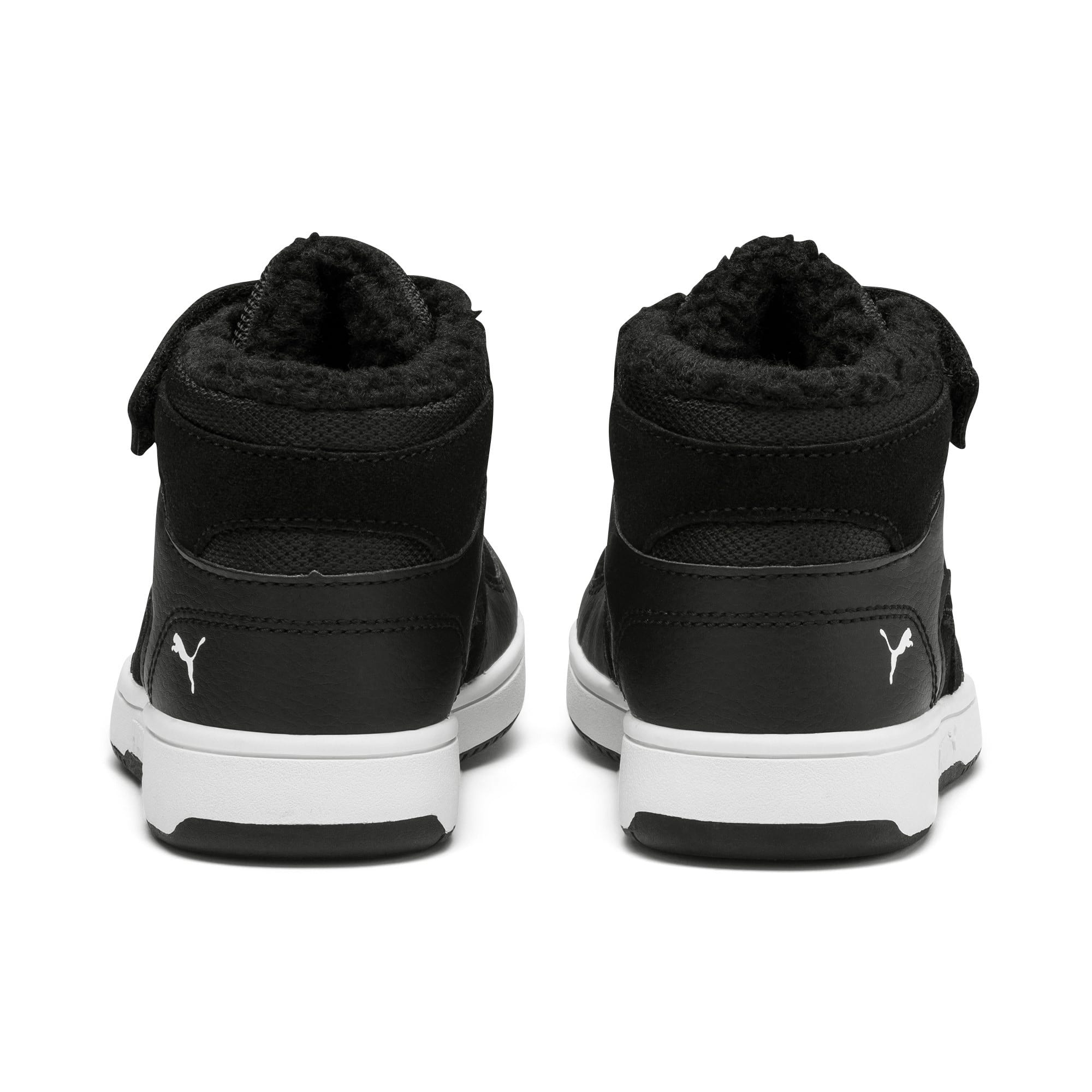 Thumbnail 3 of Rebound Lay-Up Fur V Kids' Trainers, Puma Black-Puma White, medium