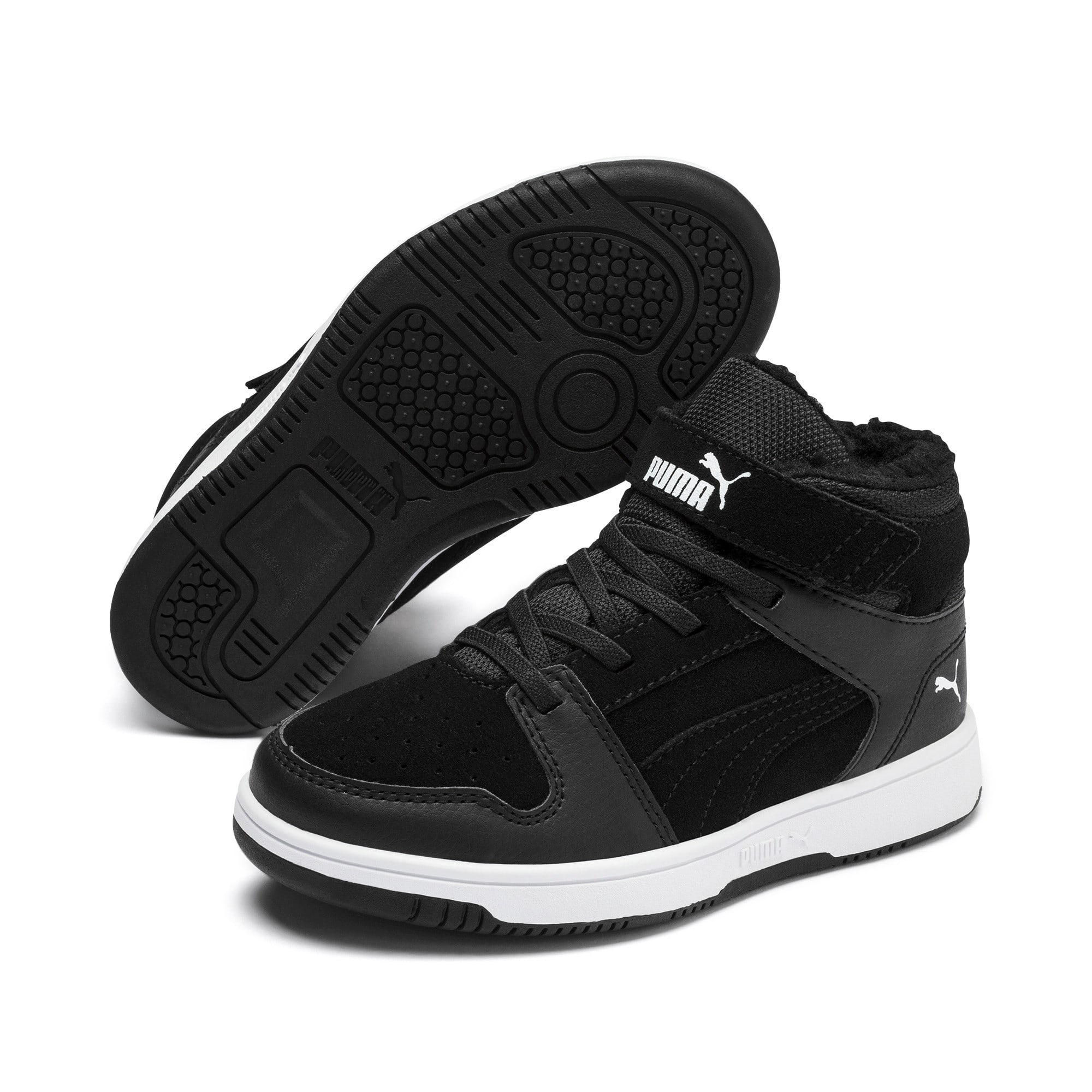 Thumbnail 2 of Rebound Lay-Up Fur V Kids' Trainers, Puma Black-Puma White, medium