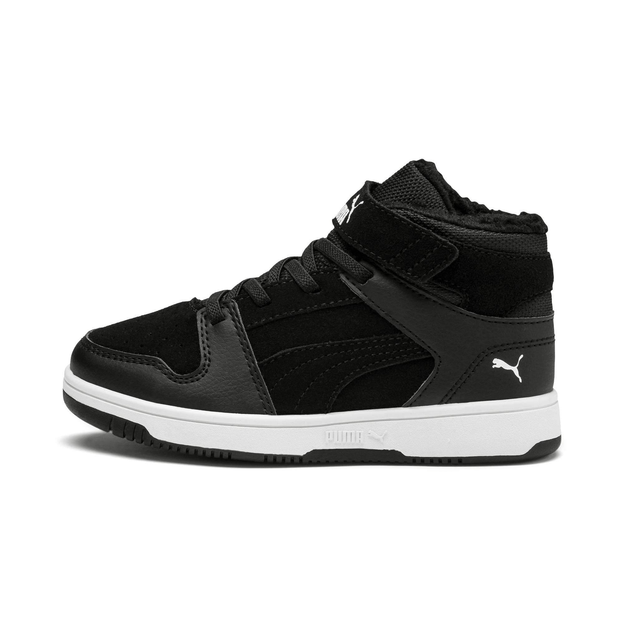 Thumbnail 1 of Rebound Lay-Up Fur V Kids' Trainers, Puma Black-Puma White, medium