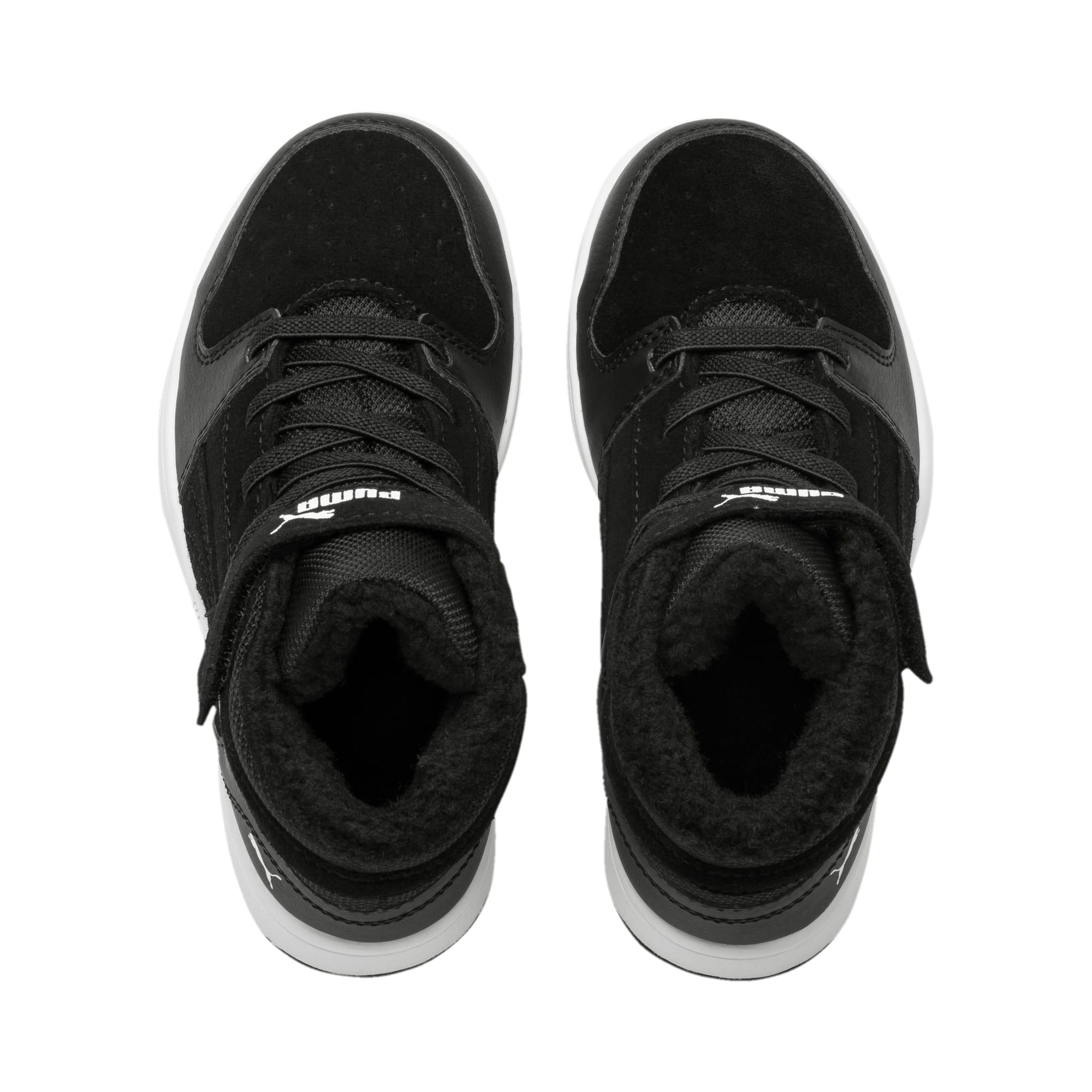 Thumbnail 6 of Rebound Lay-Up Fur V Kids' Trainers, Puma Black-Puma White, medium