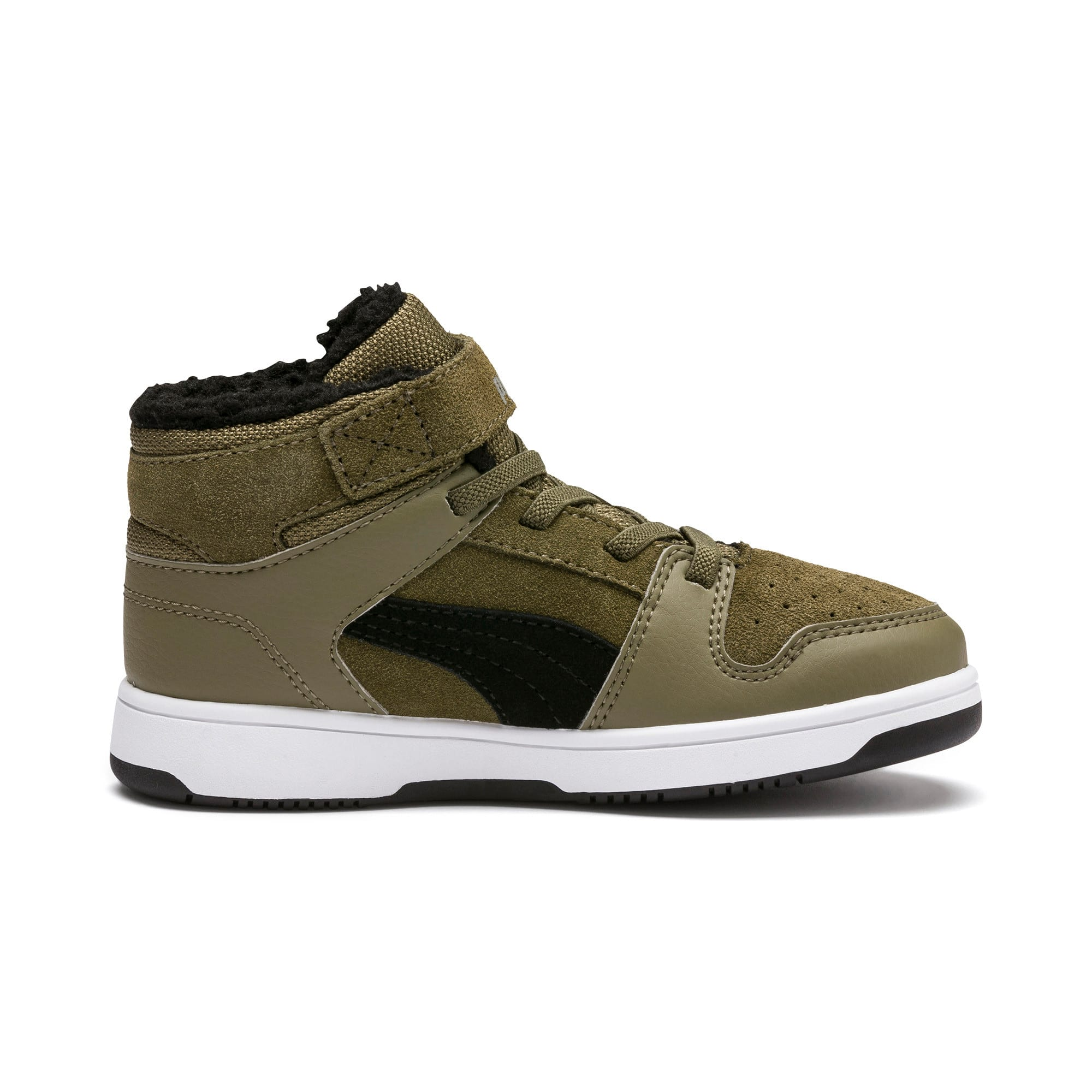 Rebound Lay-Up Fur V Kids' Trainers, B Olive-Black-Limestone-Wht, large