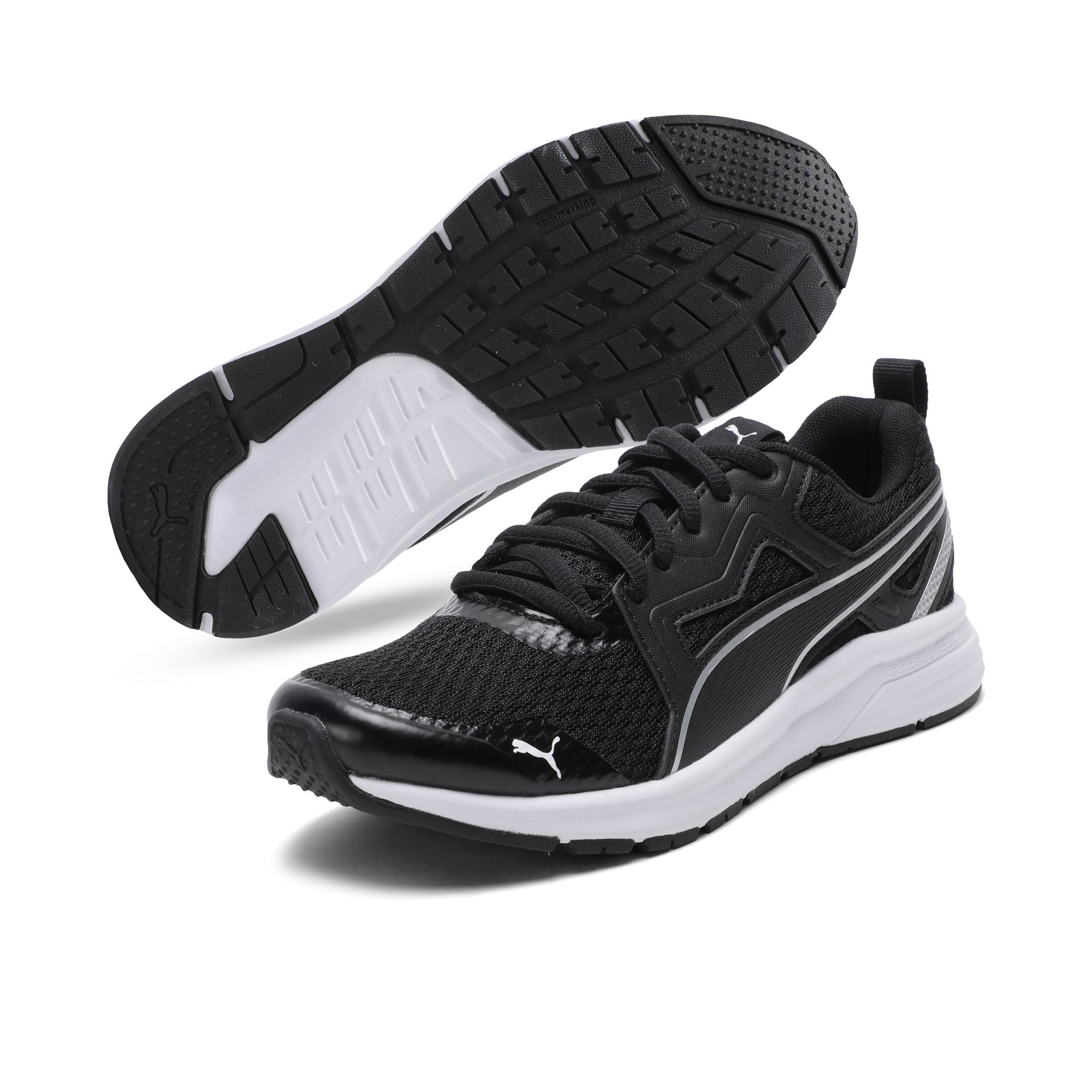 Thumbnail 2 of Pure Jogger Youth Trainers, Black-Silver-Wht-Nrgy Yellow, medium-IND